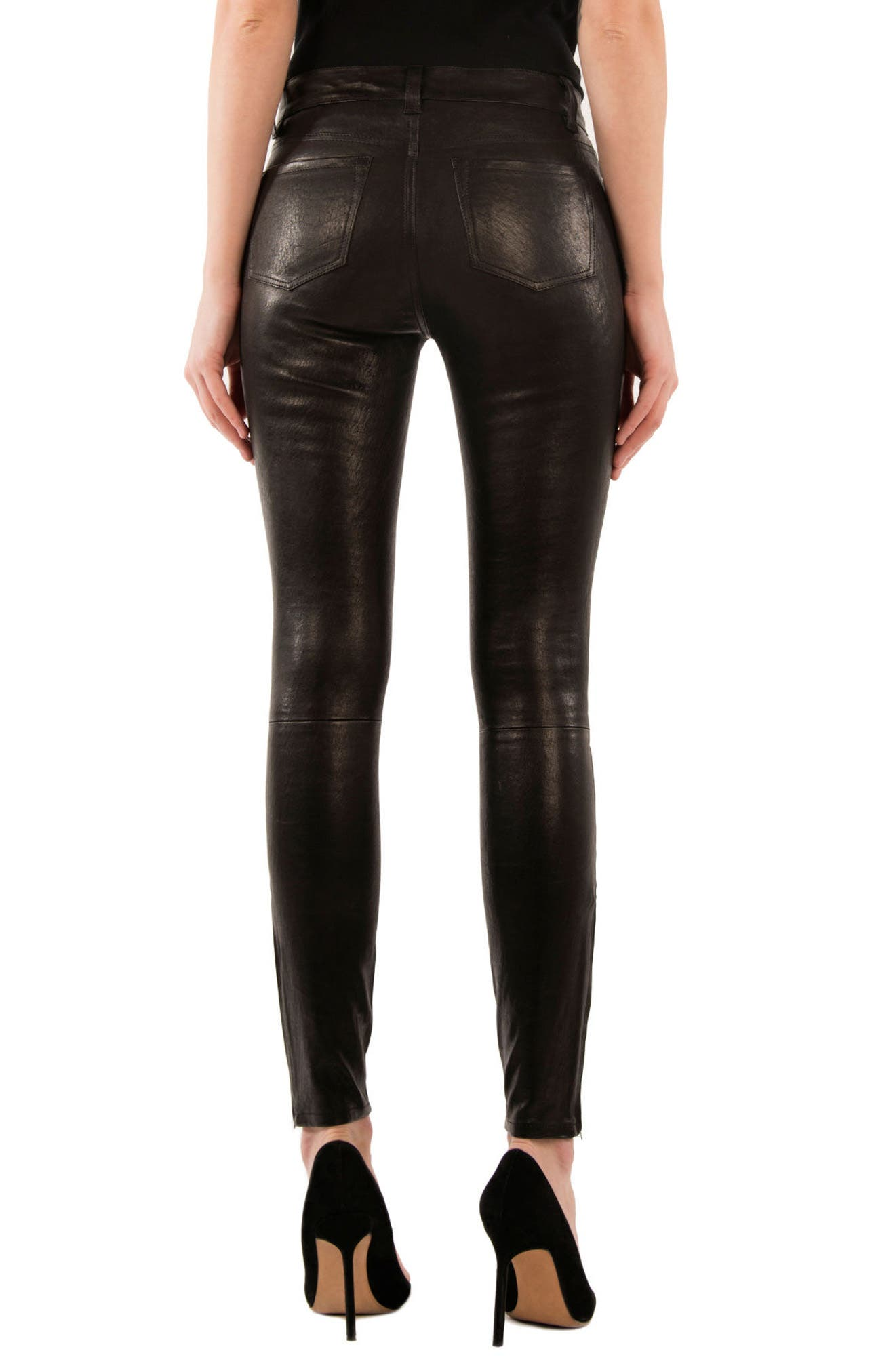 '8001' Lambskin Leather Pants,                             Alternate thumbnail 2, color,                             Noir