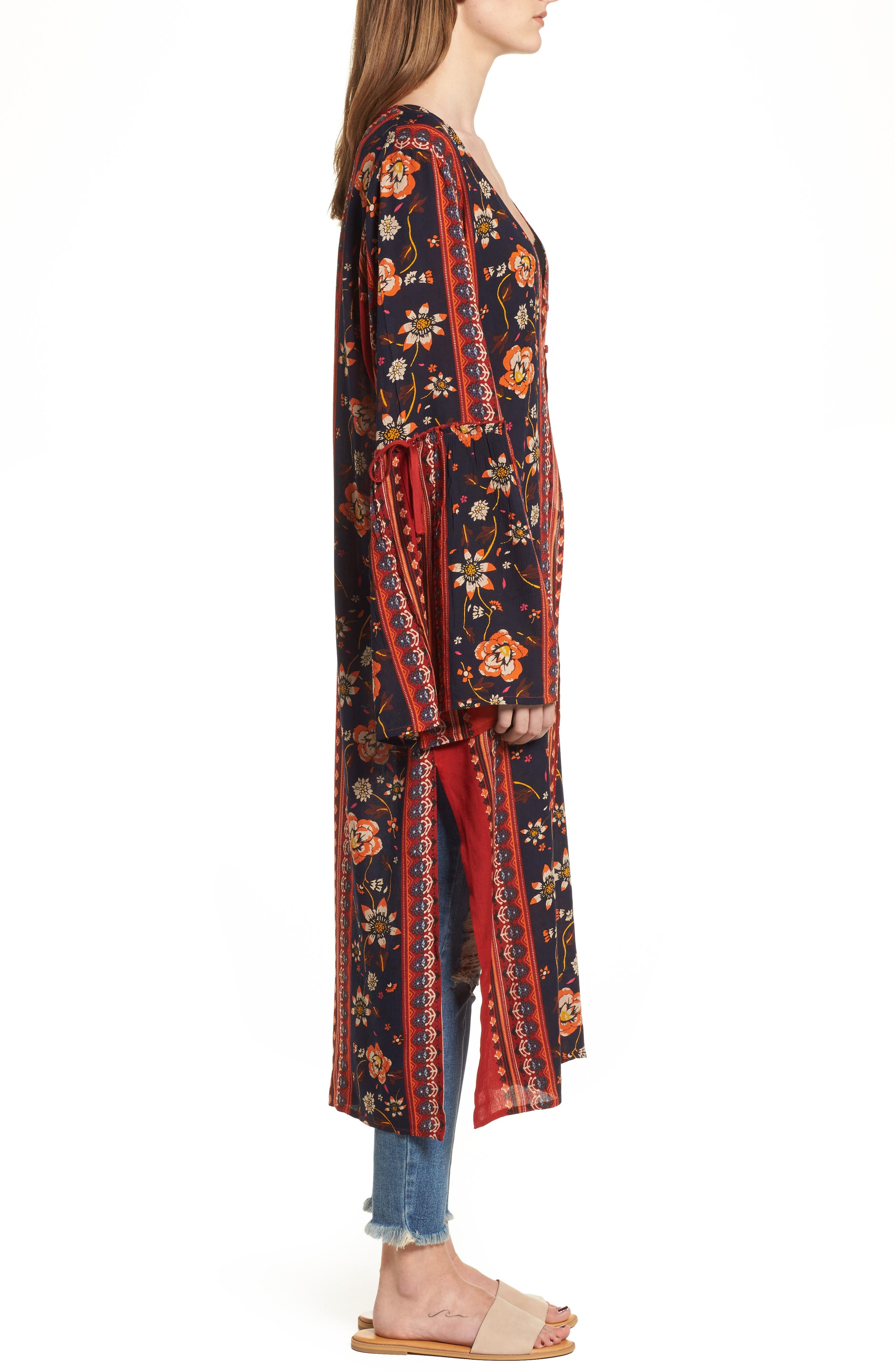 Bell Sleeve Kimono,                             Alternate thumbnail 3, color,                             Rust/ Navy