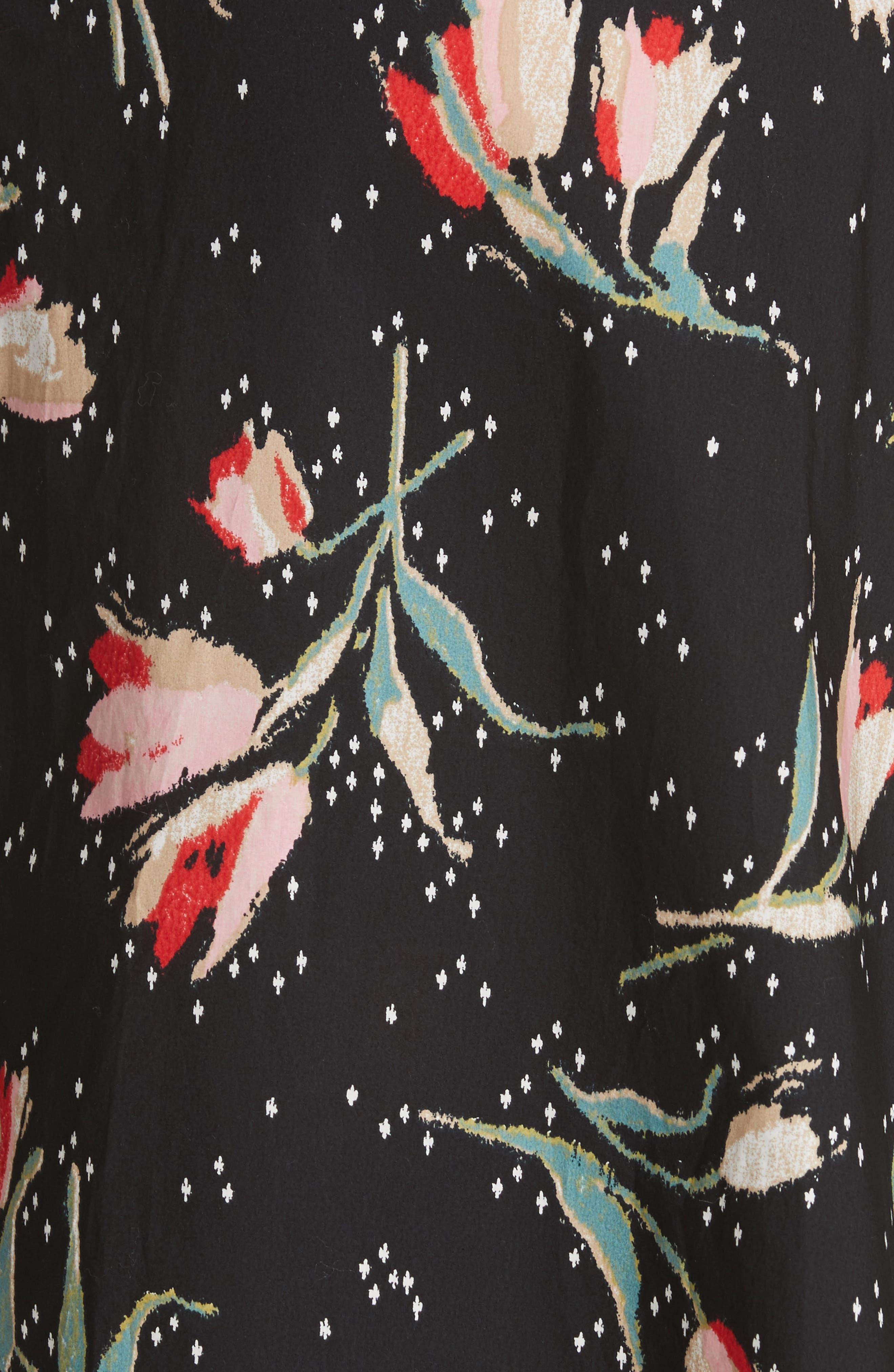 Floral Ikat Wrap Skirt,                             Alternate thumbnail 5, color,                             Black Combo