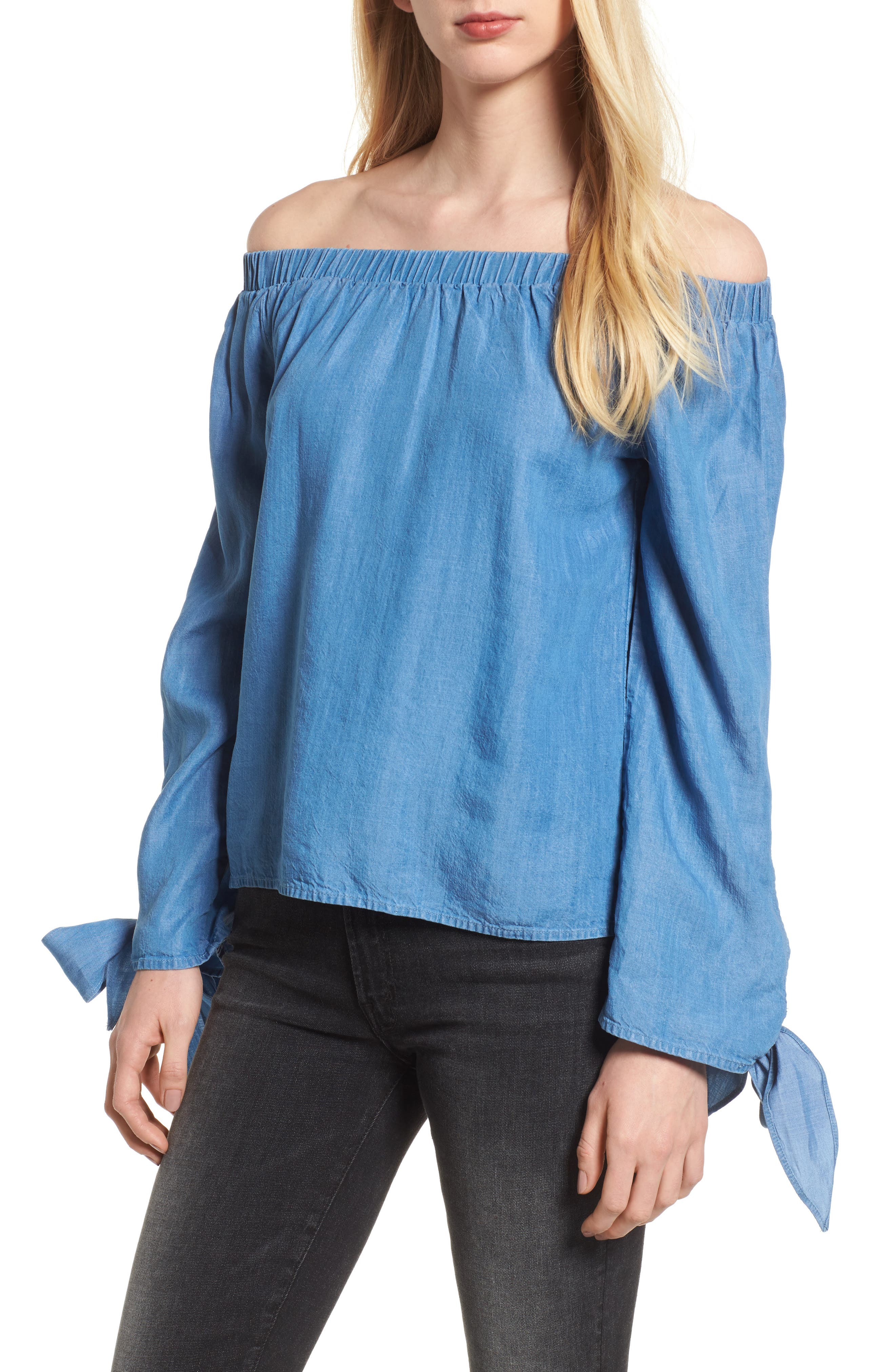 Bishop + Young Avery Off the Shoulder Top,                         Main,                         color, Chambray