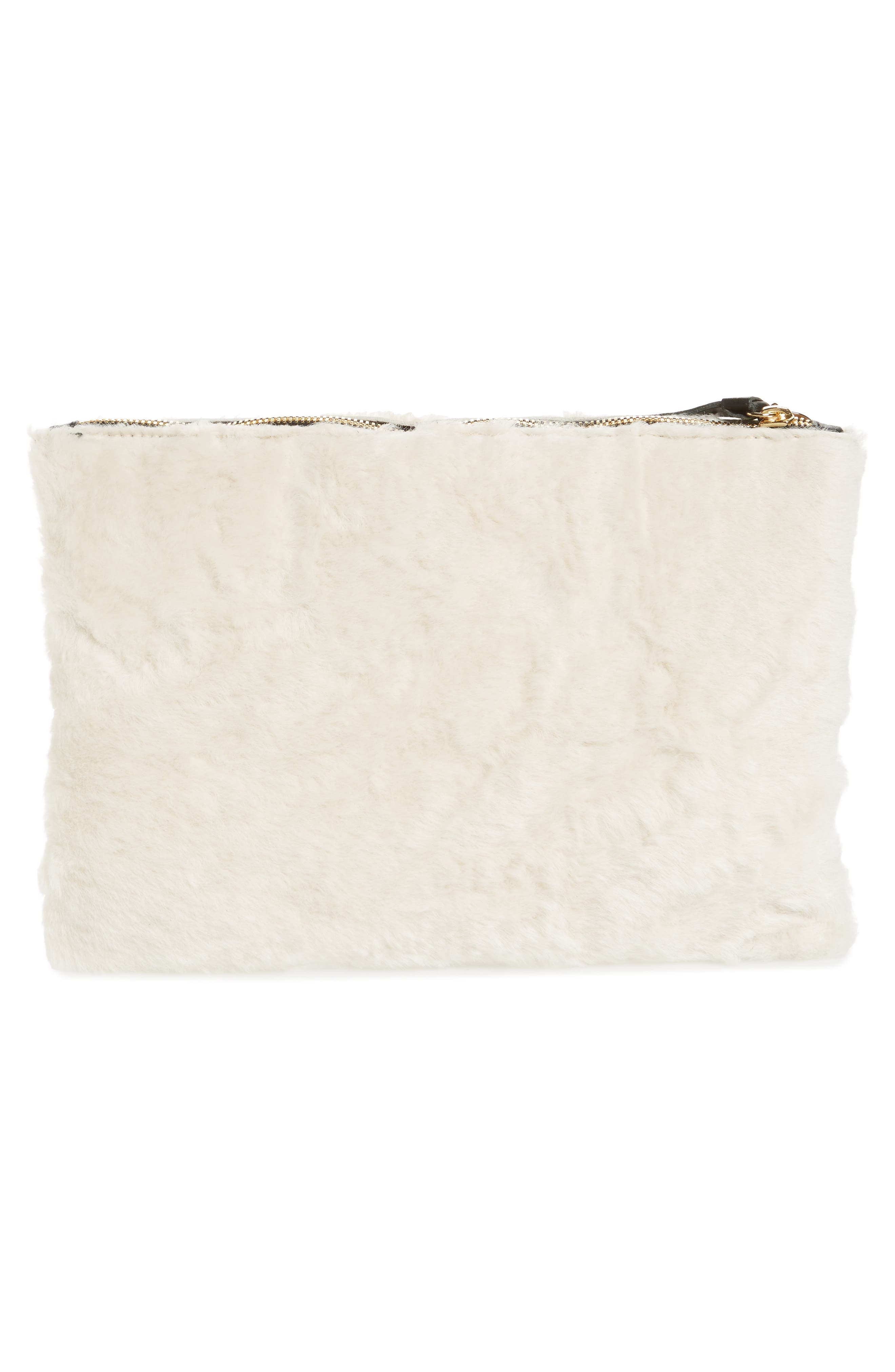 Genuine Shearling Flat Clutch,                             Alternate thumbnail 4, color,                             Cream Shearling