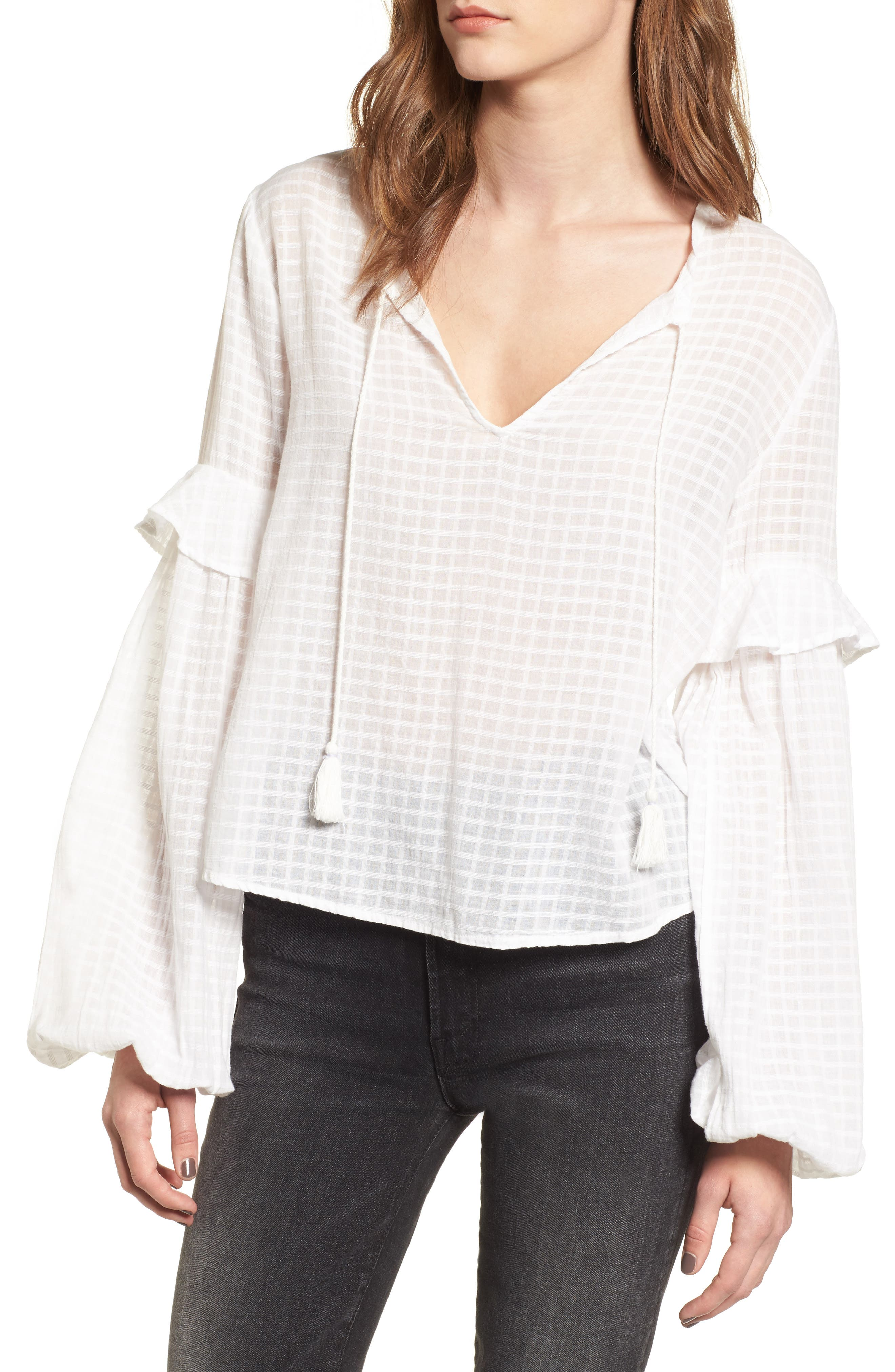 Check Woven Shirt,                             Main thumbnail 1, color,                             White/ Navy