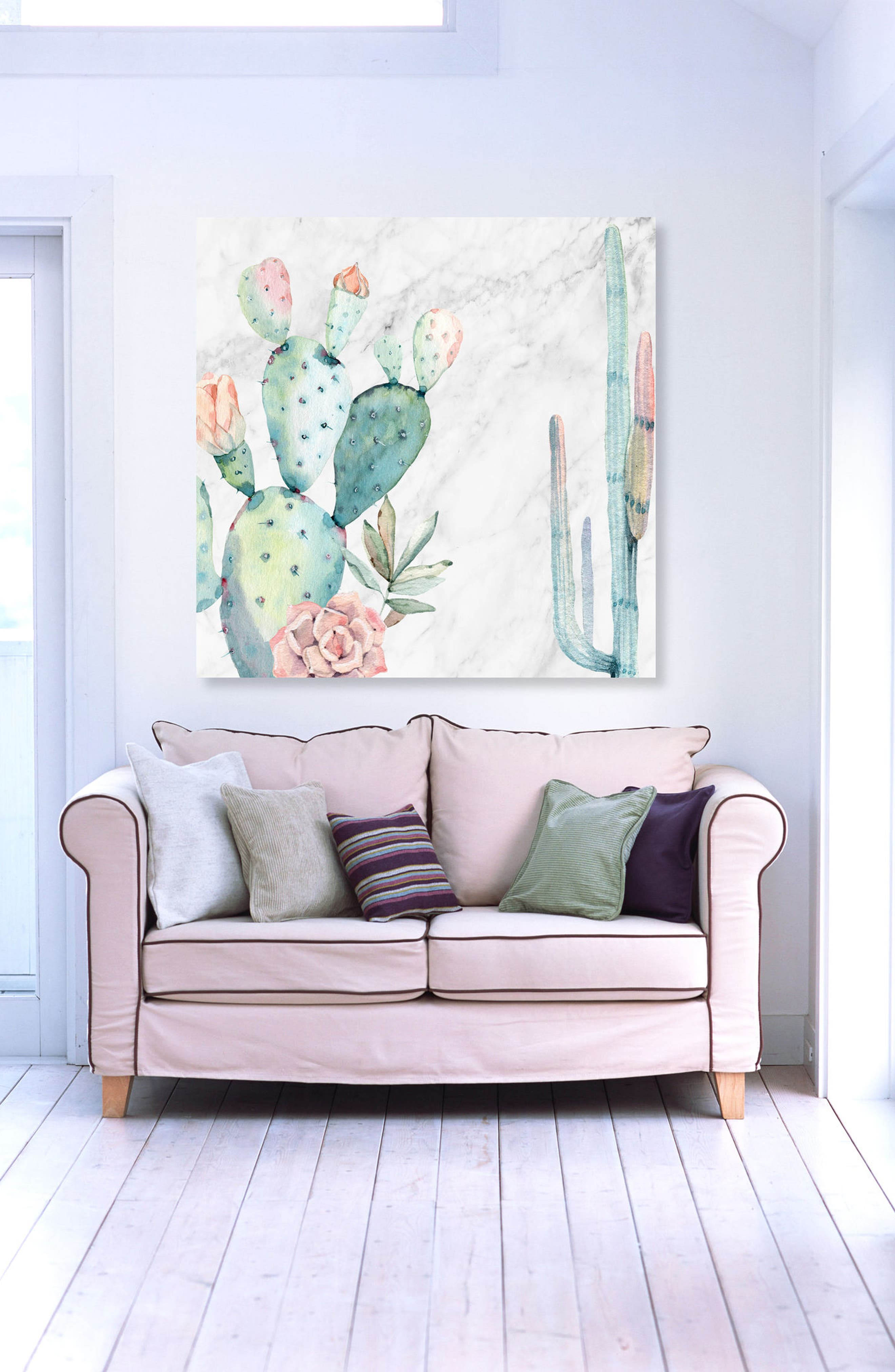 Marble & Succulents Canvas Wall Art,                             Alternate thumbnail 2, color,                             White