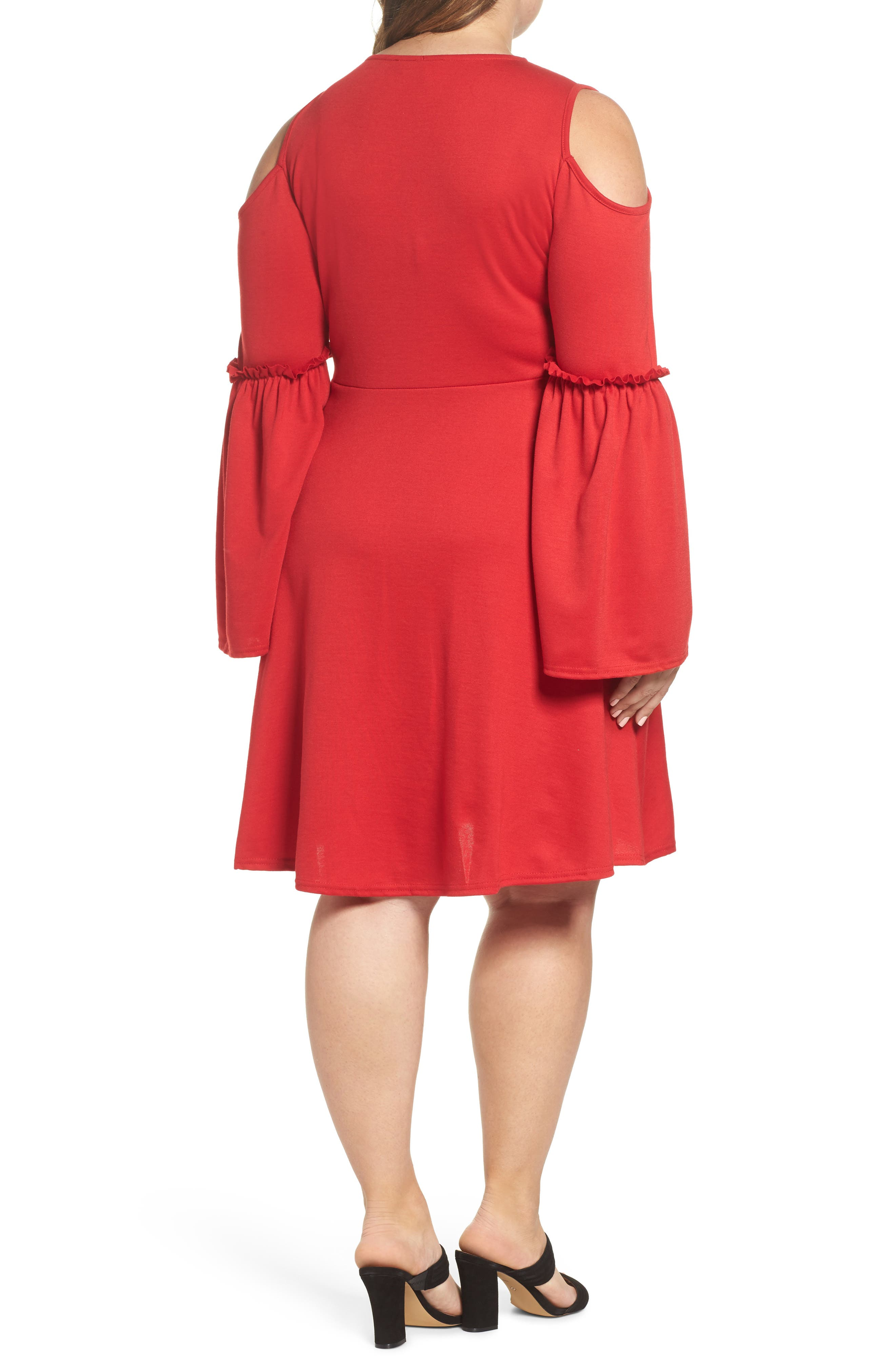 Alternate Image 2  - LOST INK Frill Sleeve Cold Shoulder Skater Dress (Plus Size)
