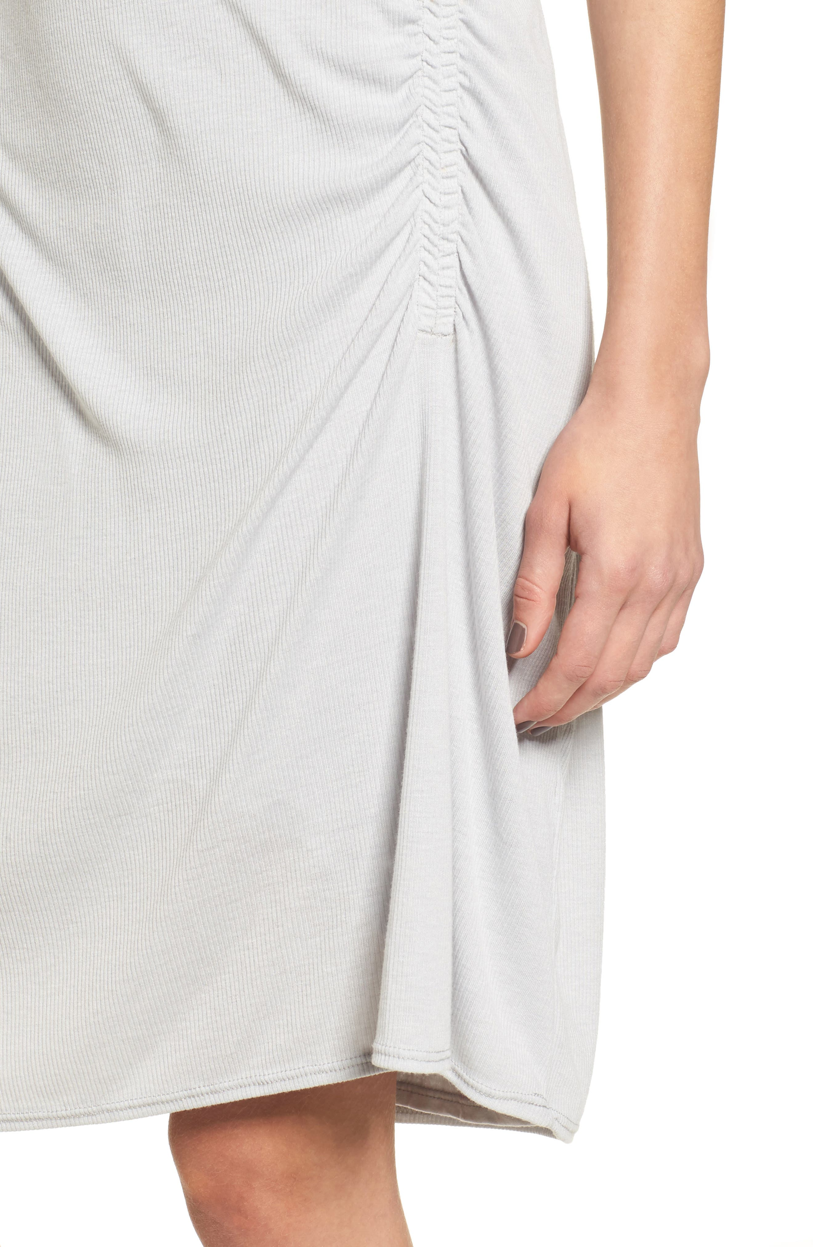 Ruched Rib Knit Dress,                             Alternate thumbnail 4, color,                             Heather Grey