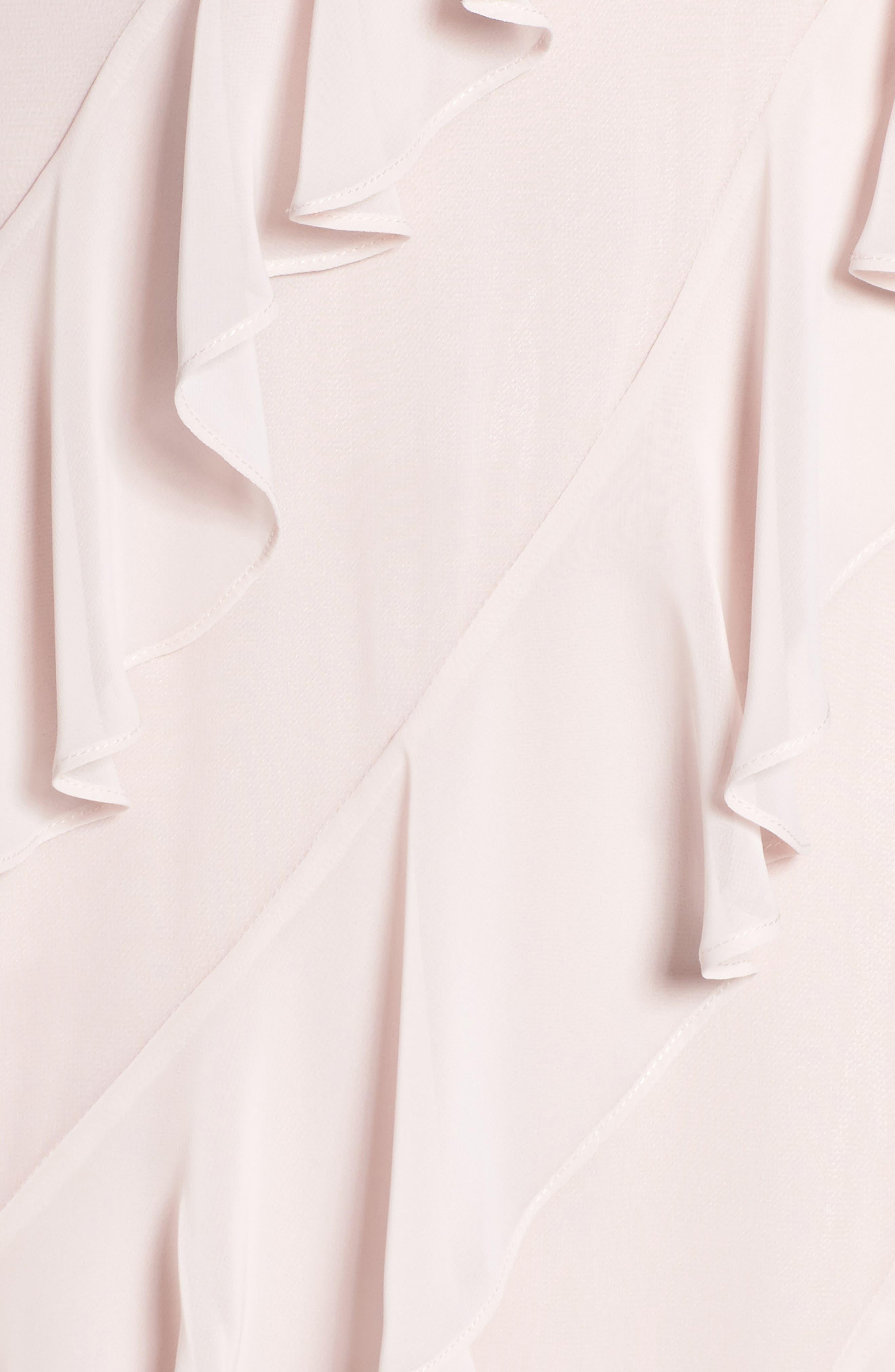Embellished Ruffle Chiffon Gown,                             Alternate thumbnail 5, color,                             Blush