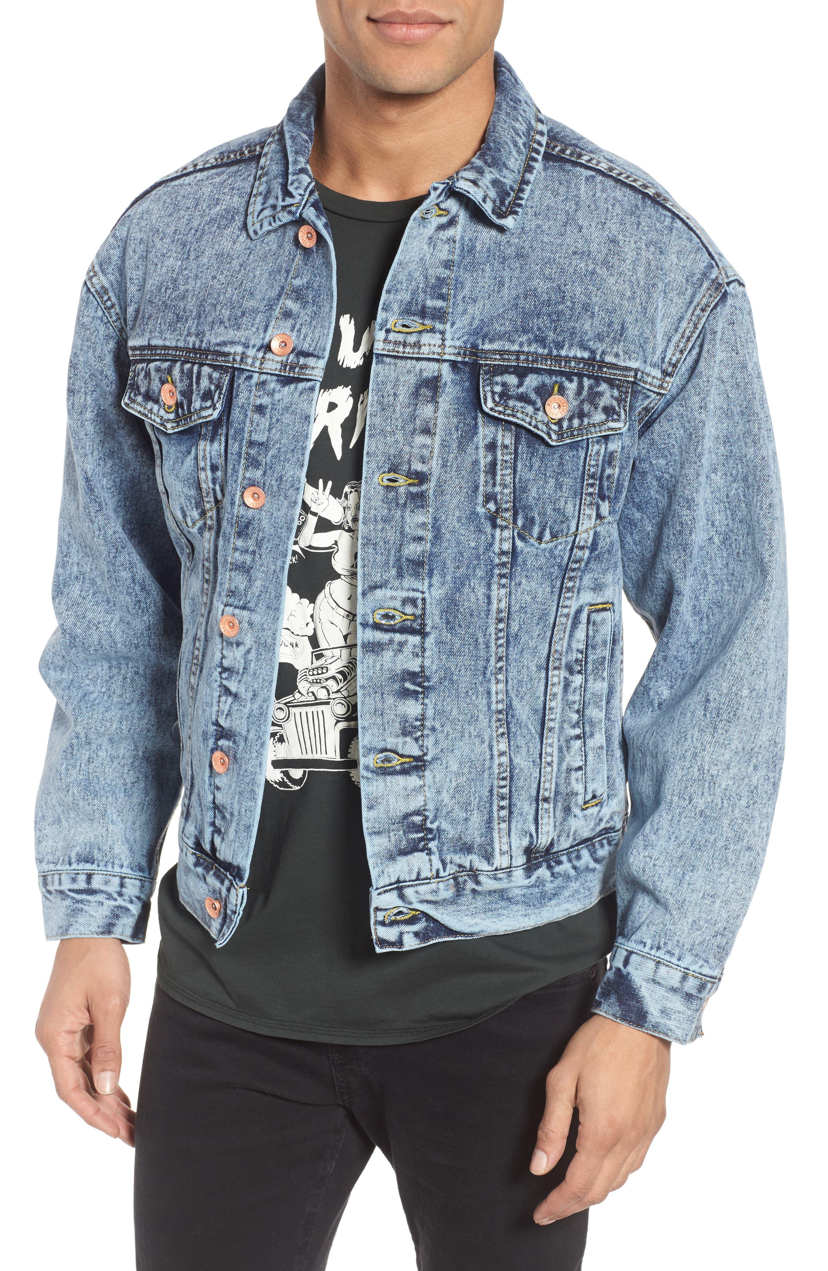 Classic Fit Denim Jacket,                             Main thumbnail 1, color,                             Blue Acid Wash