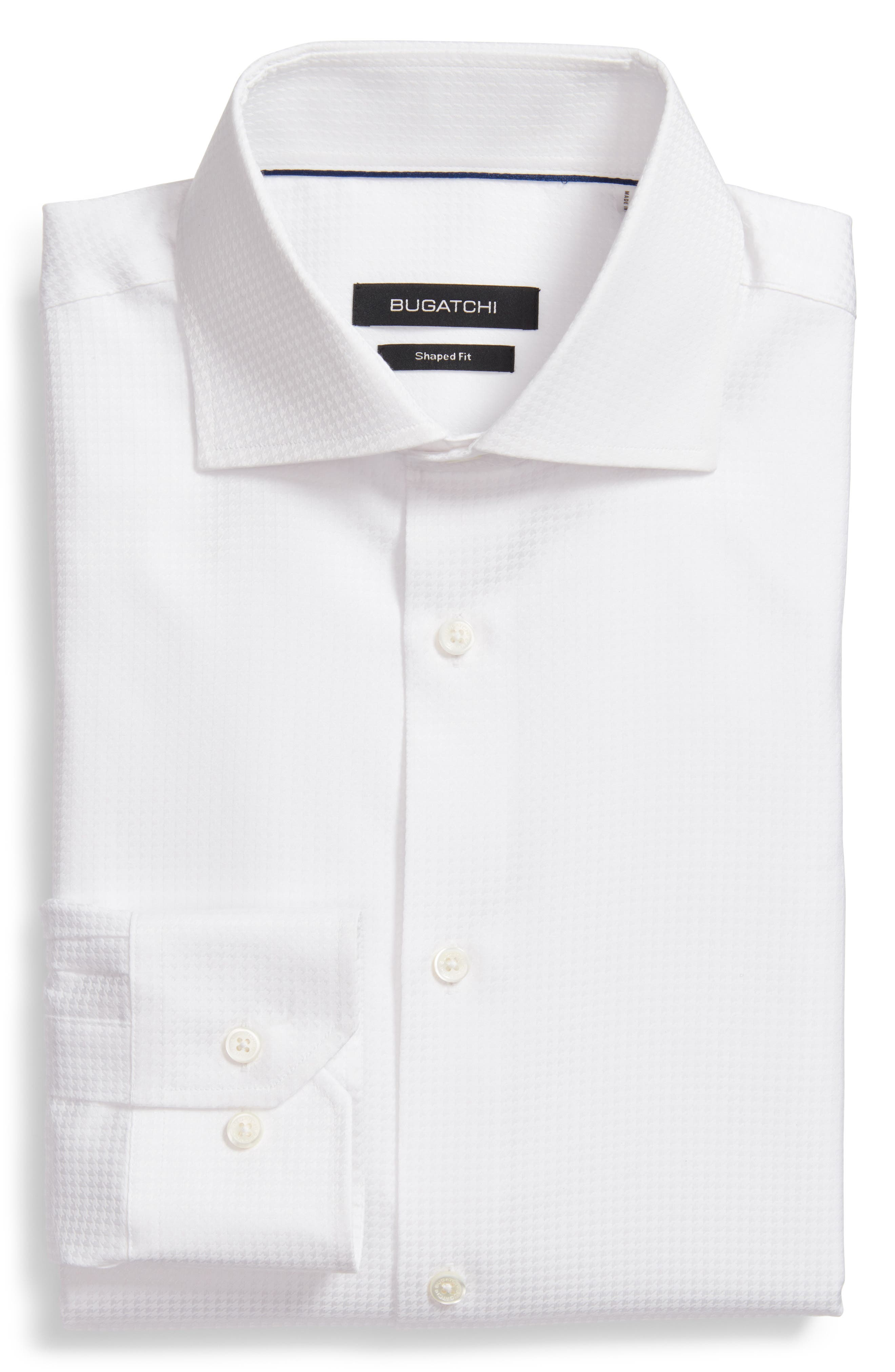 Trim Fit Houndstooth Dress Shirt,                         Main,                         color, White