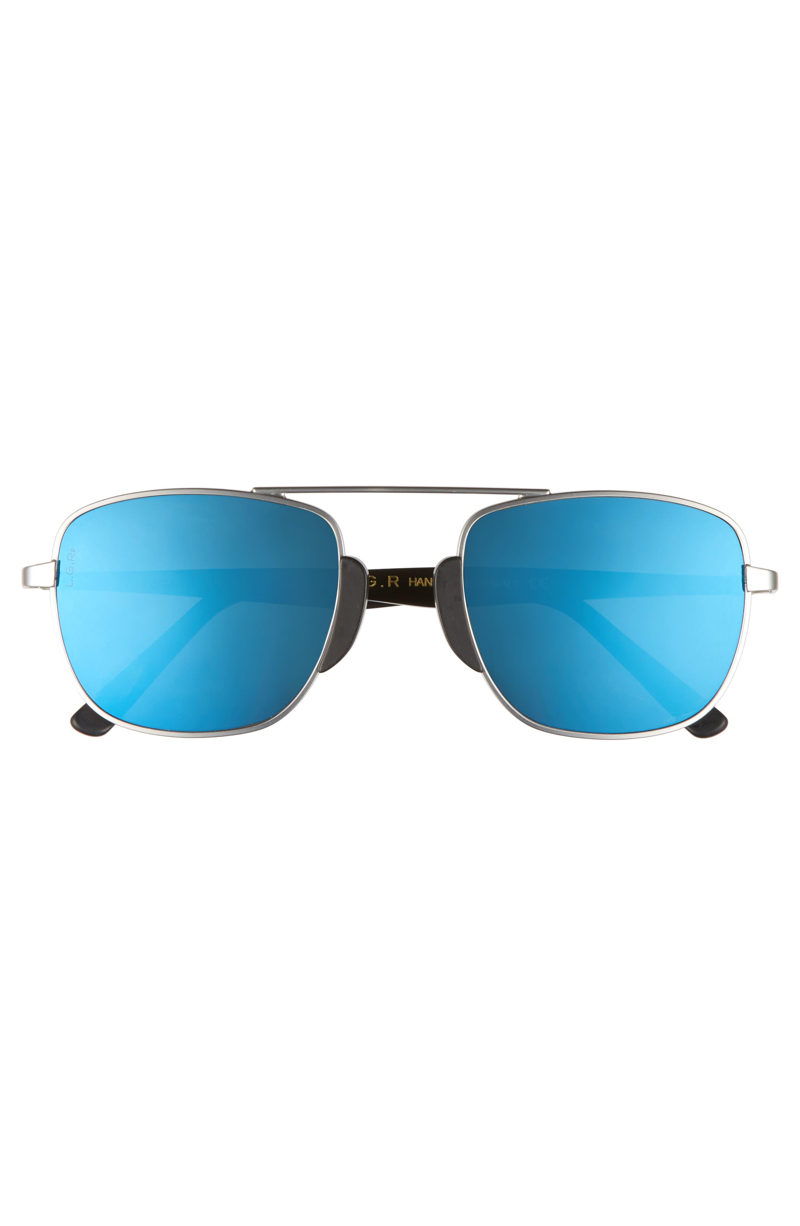 Negus 53mm Polarized Sunglasses,                             Alternate thumbnail 2, color,                             Silver Matte/ Blue Mirror