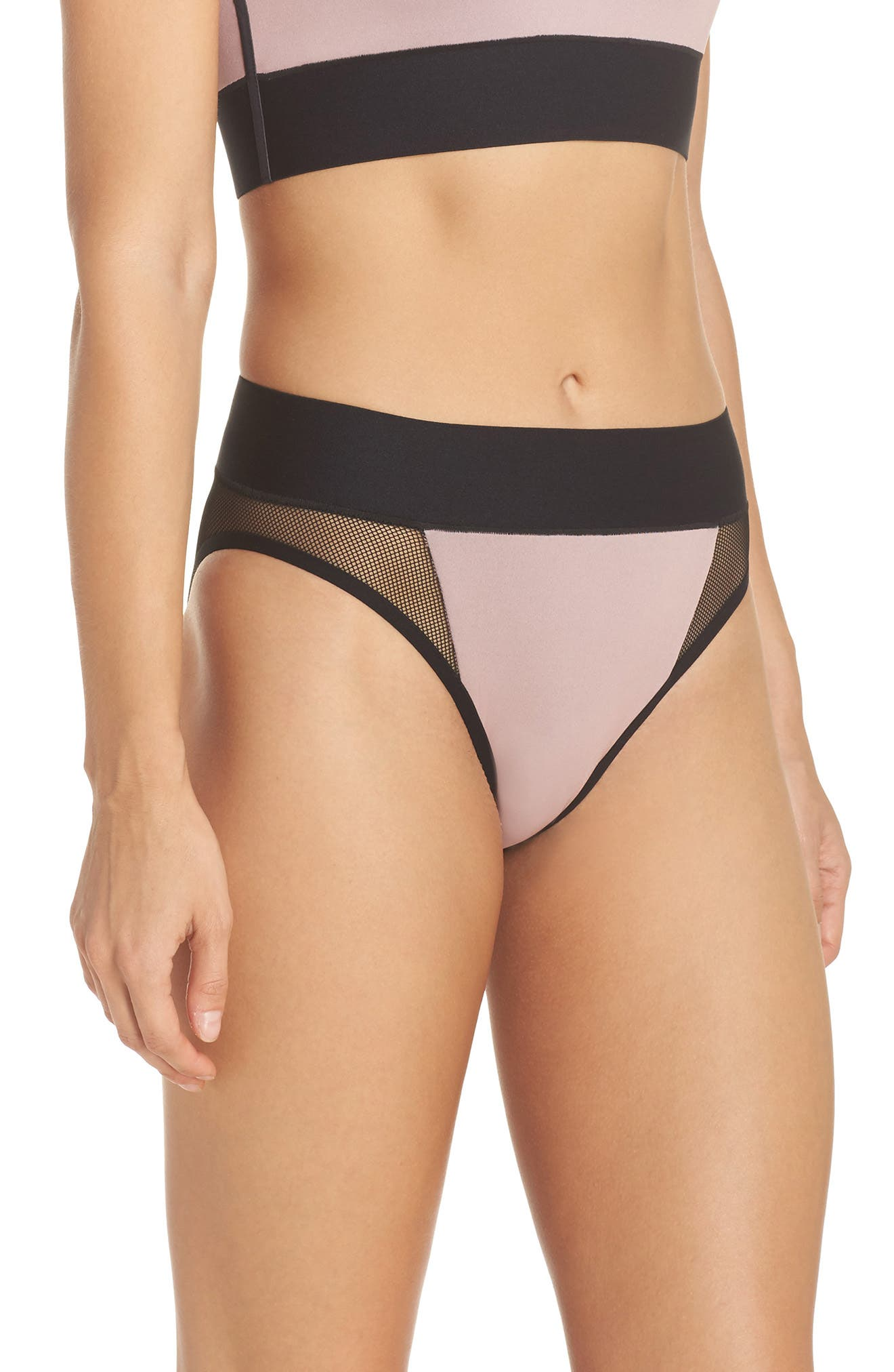 Reef Sport Mesh High-Waist Bikini Bottoms,                             Alternate thumbnail 3, color,                             Blush Pink