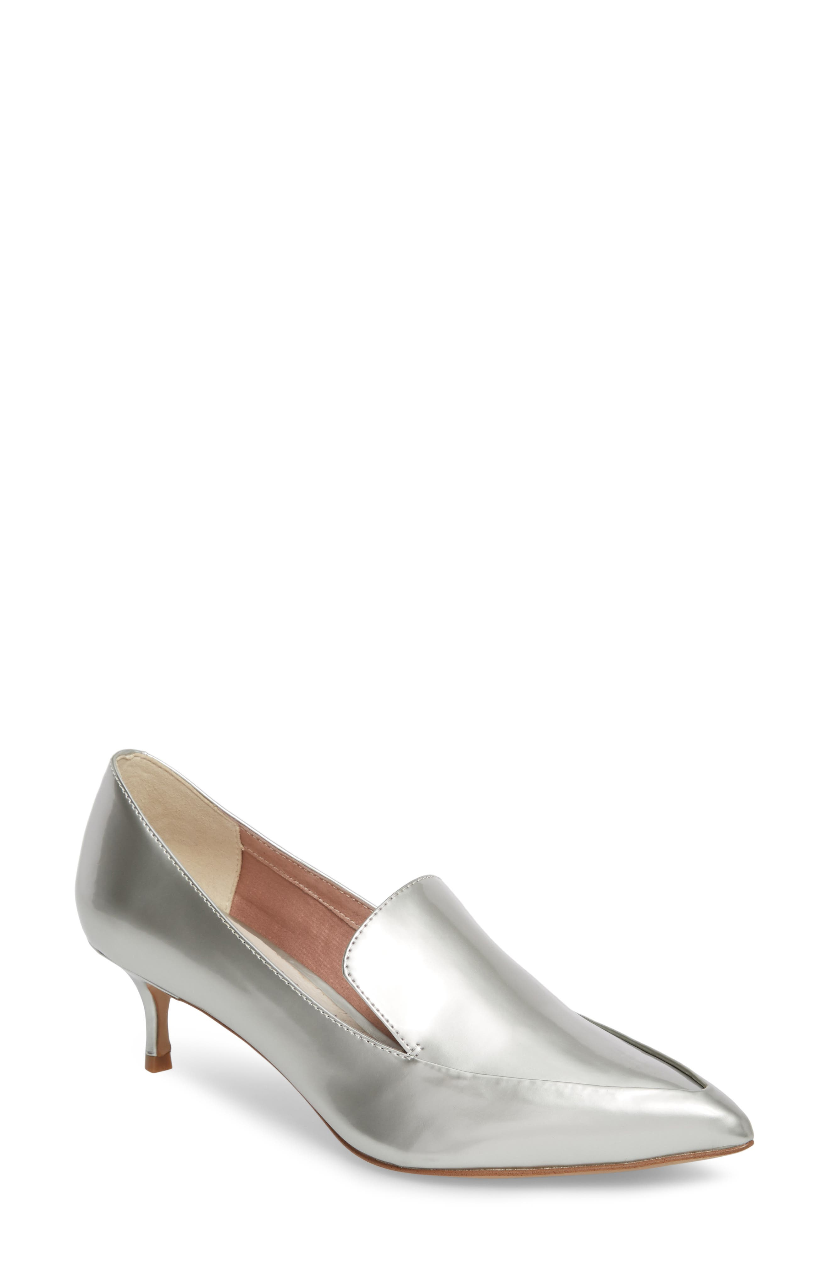 Shea Loafer Pump,                         Main,                         color, Silver Metallic Leather