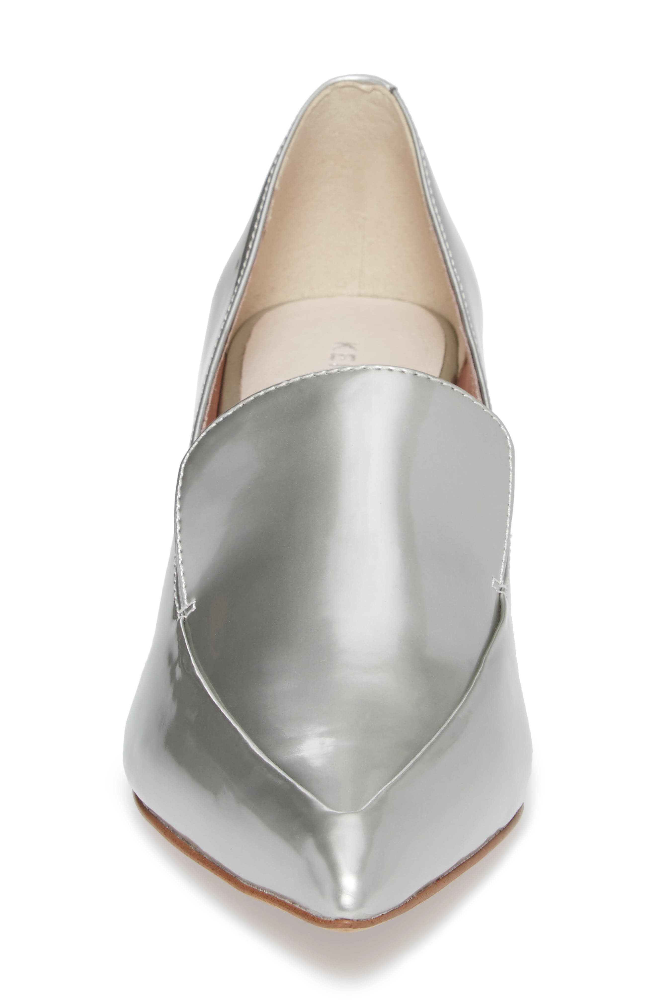 Shea Loafer Pump,                             Alternate thumbnail 4, color,                             Silver Metallic Leather