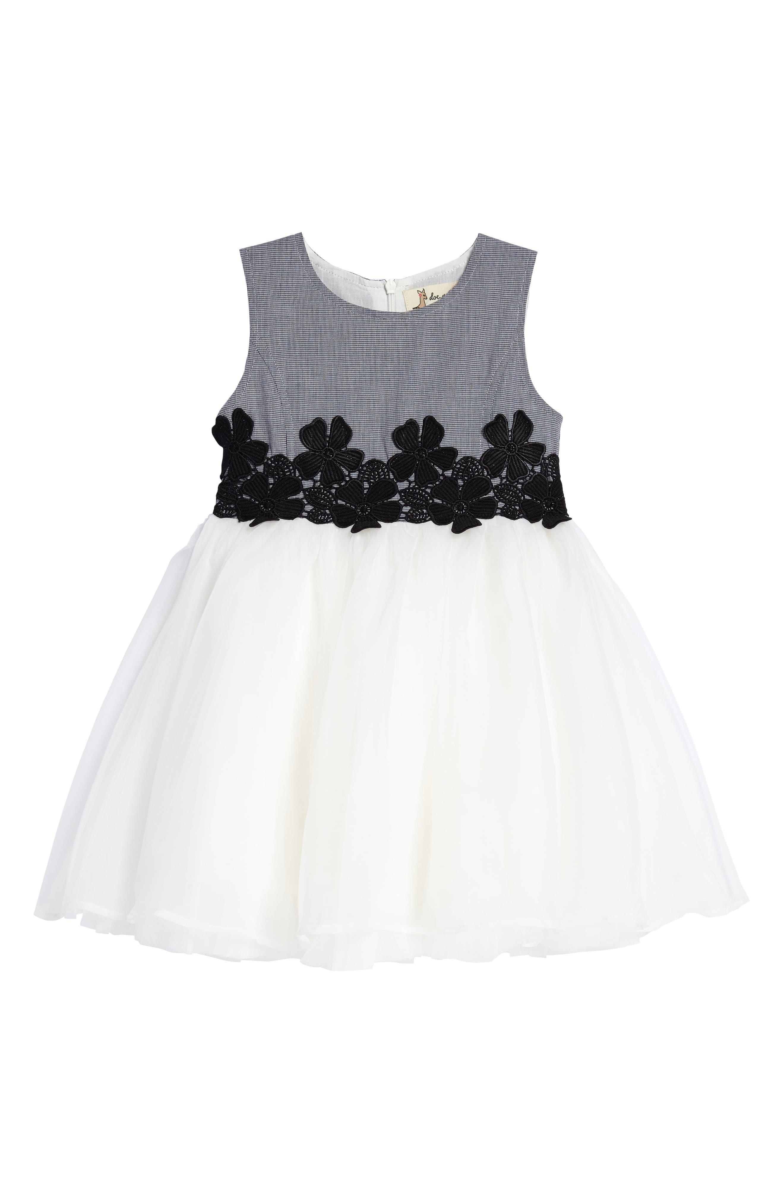 Mini Houndstooth & Tulle Dress,                             Main thumbnail 1, color,                             Black/ White