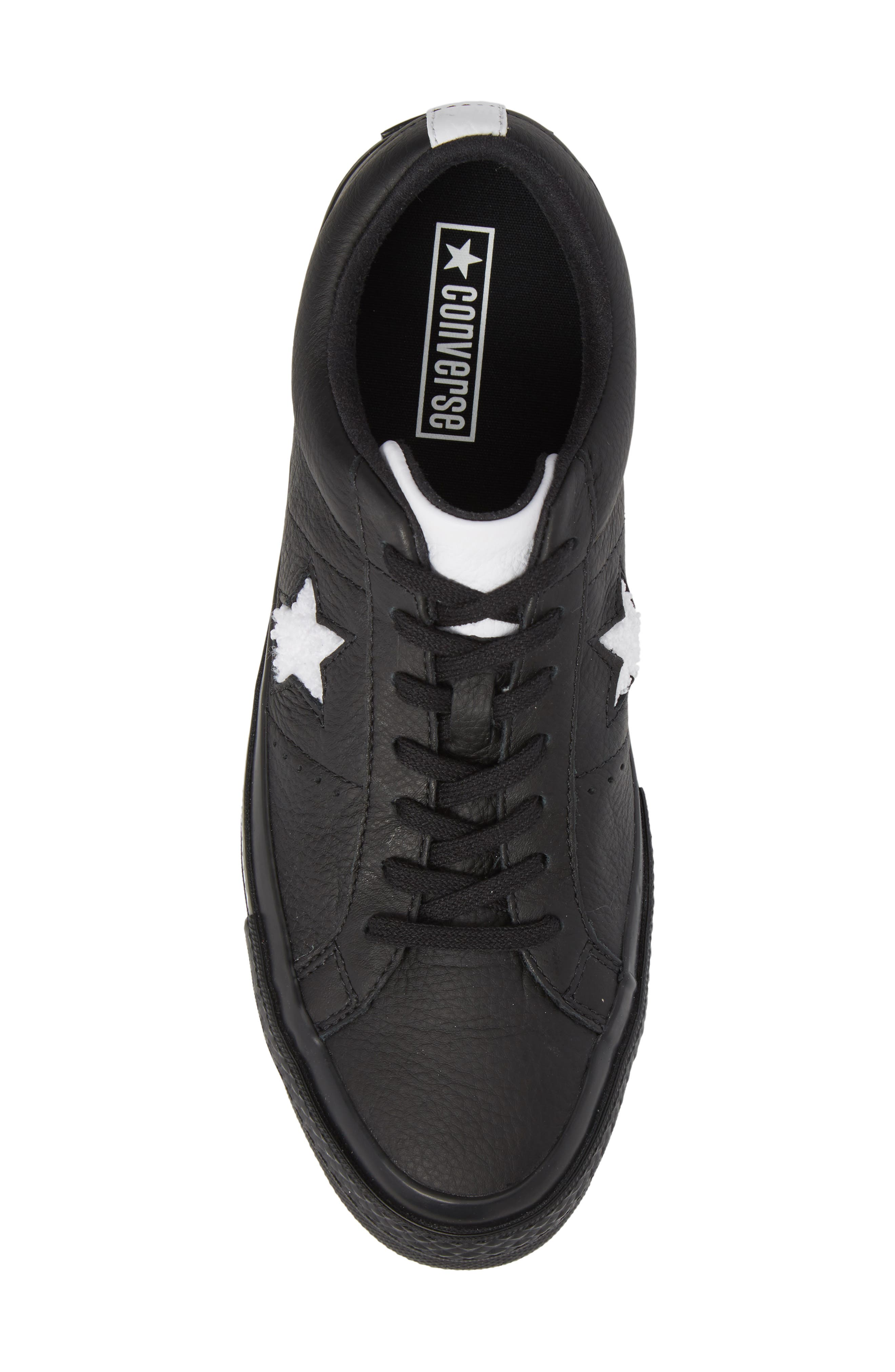 Chuck Taylor<sup>®</sup> One Star Pinstripe Sneaker,                             Alternate thumbnail 5, color,                             Black Leather