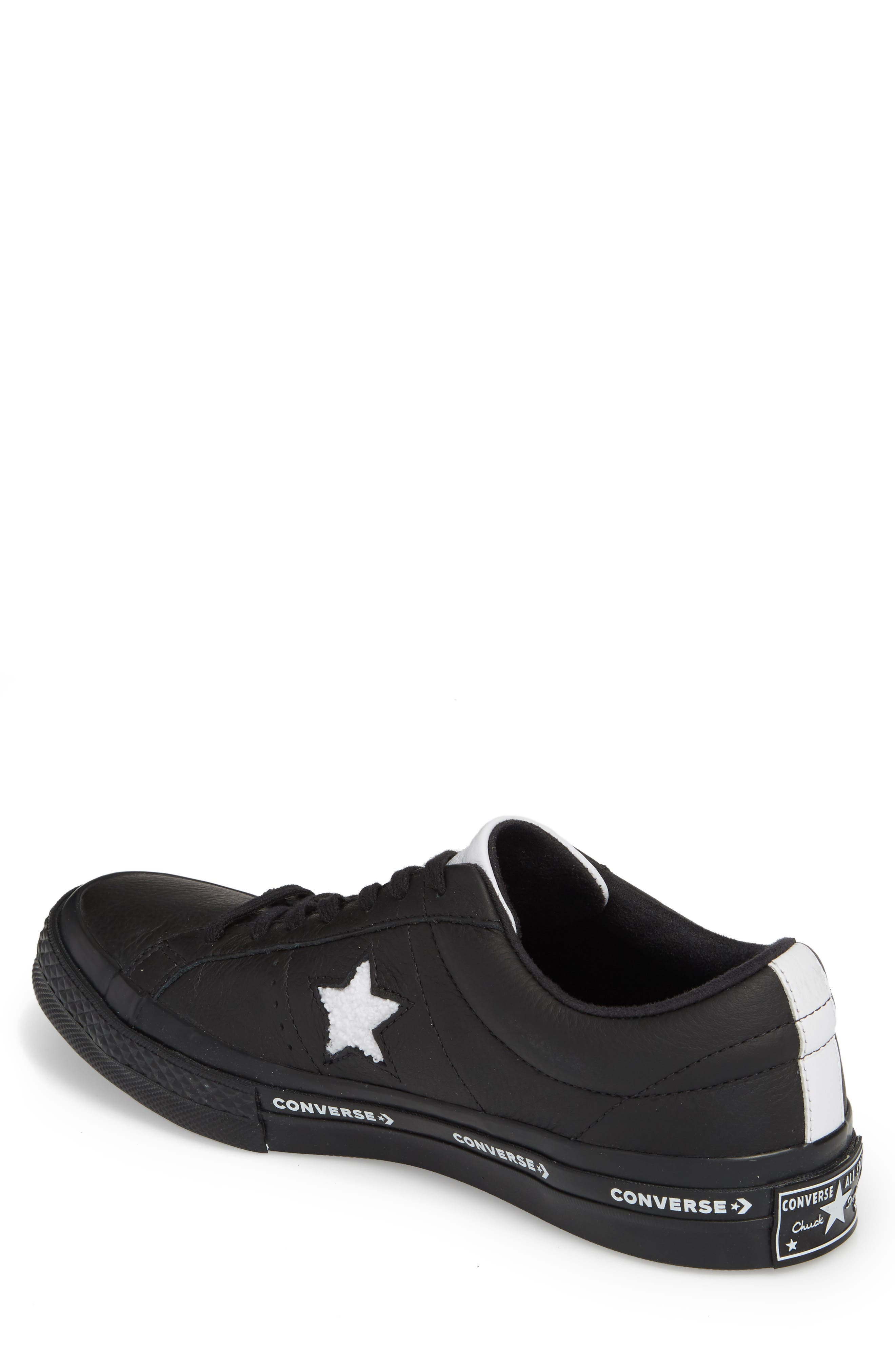 Chuck Taylor<sup>®</sup> One Star Pinstripe Sneaker,                             Alternate thumbnail 2, color,                             Black Leather