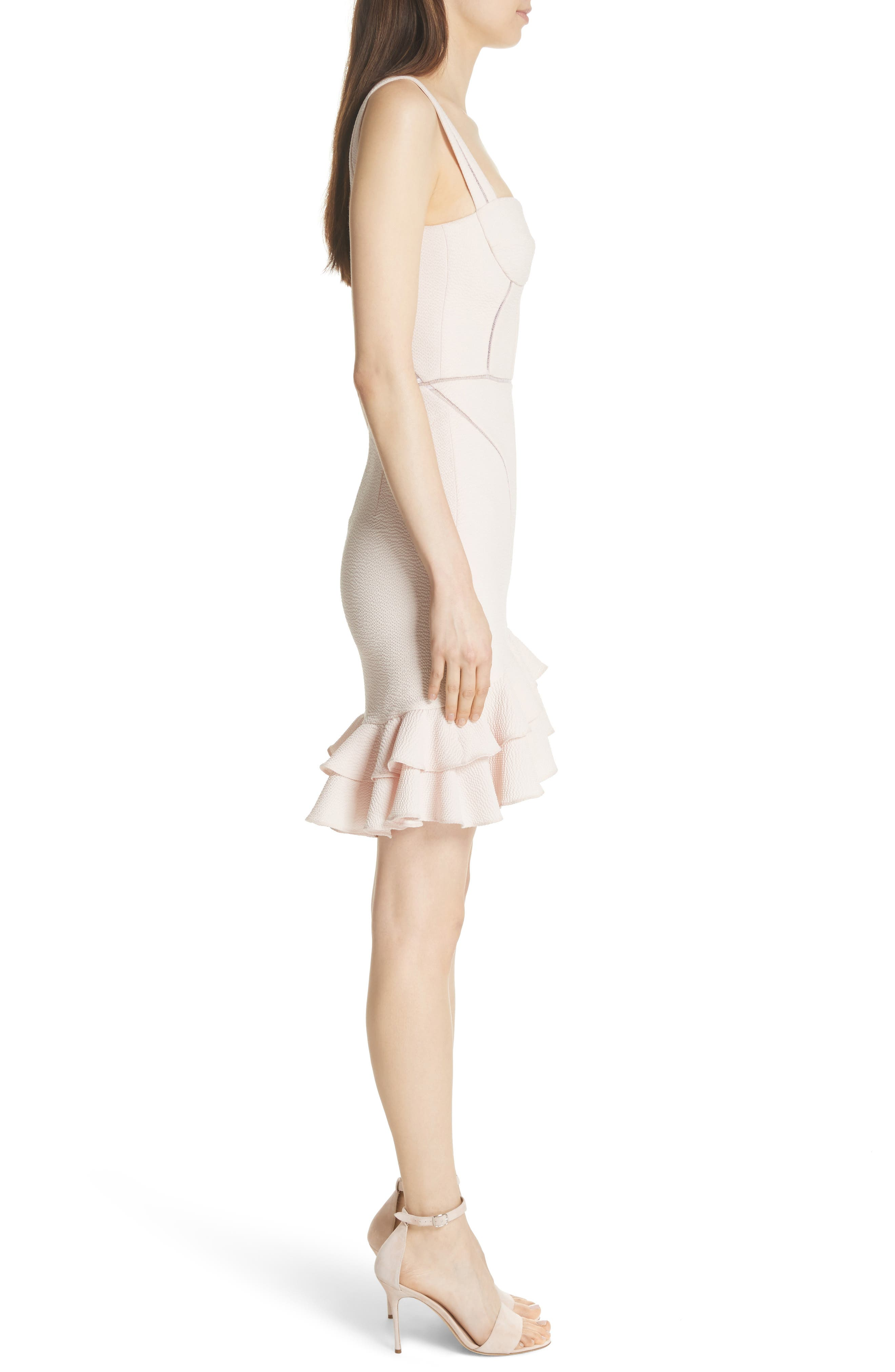 Seersucker Bustier Dress,                             Alternate thumbnail 3, color,                             Powder Pink