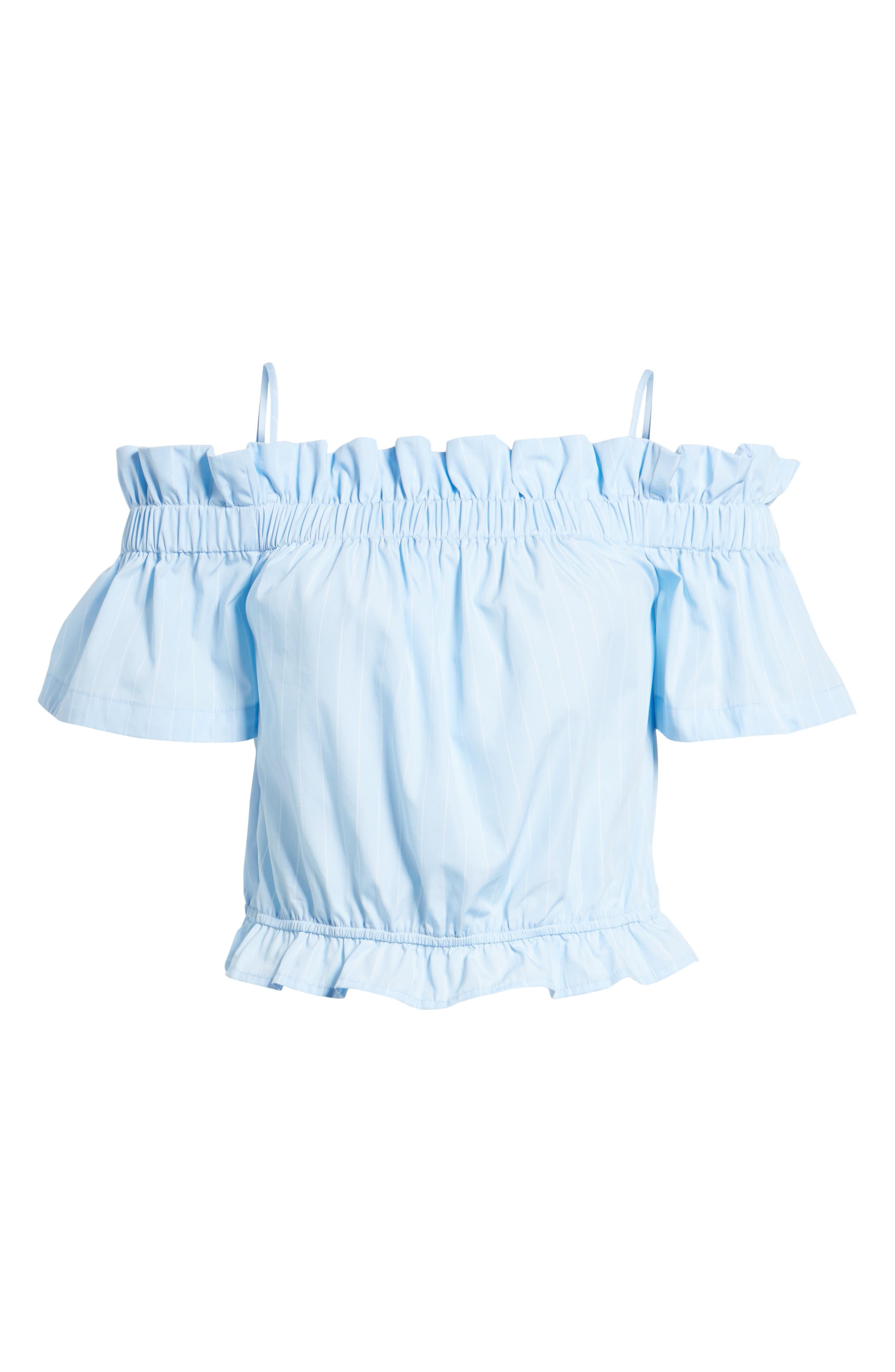 Cold Shoulder Ruffle Trim Top,                             Alternate thumbnail 6, color,                             Blue Drift Rhea Stripe