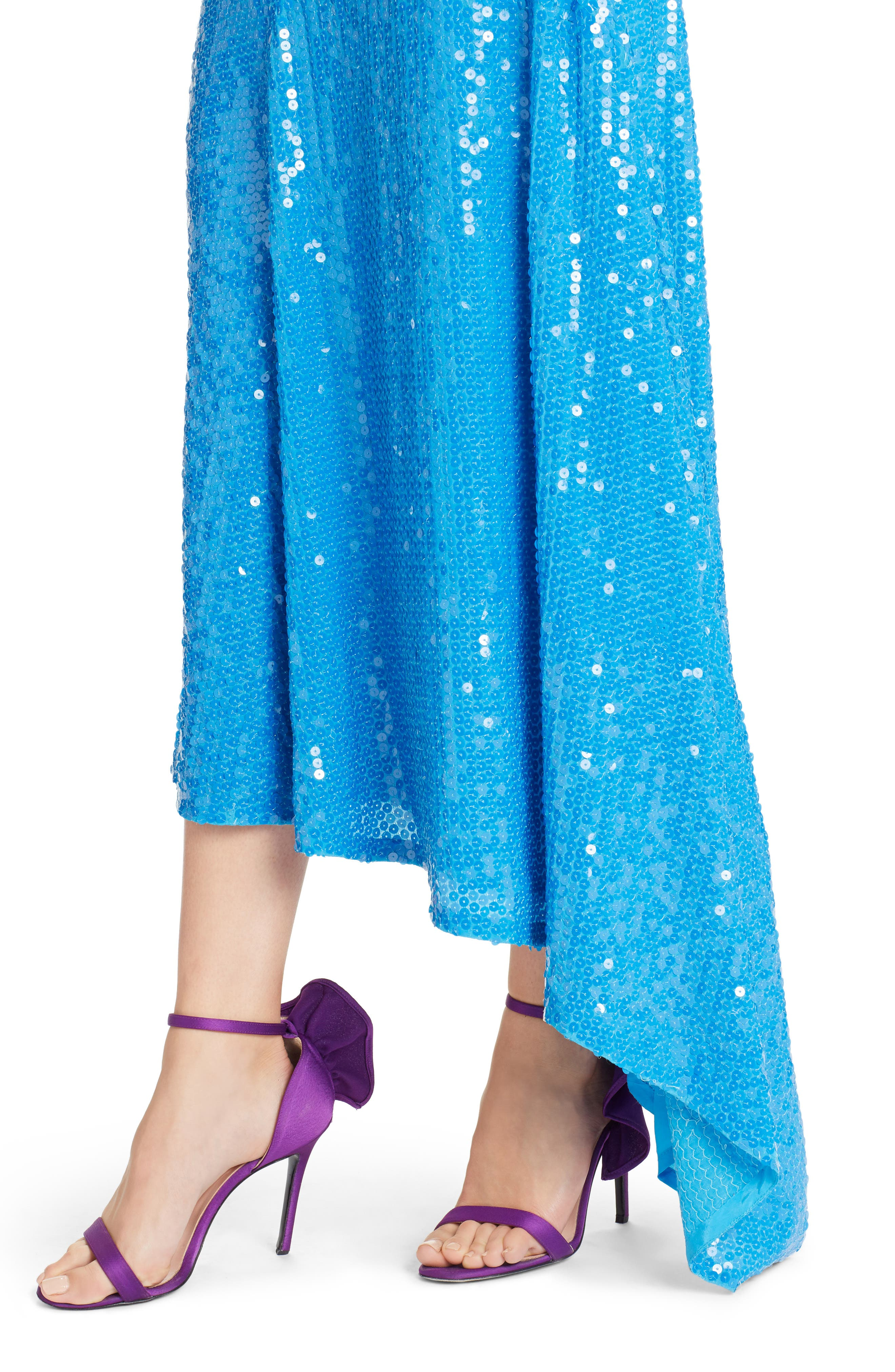 Asymmetrical Sequin Skirt,                             Alternate thumbnail 4, color,                             Blue