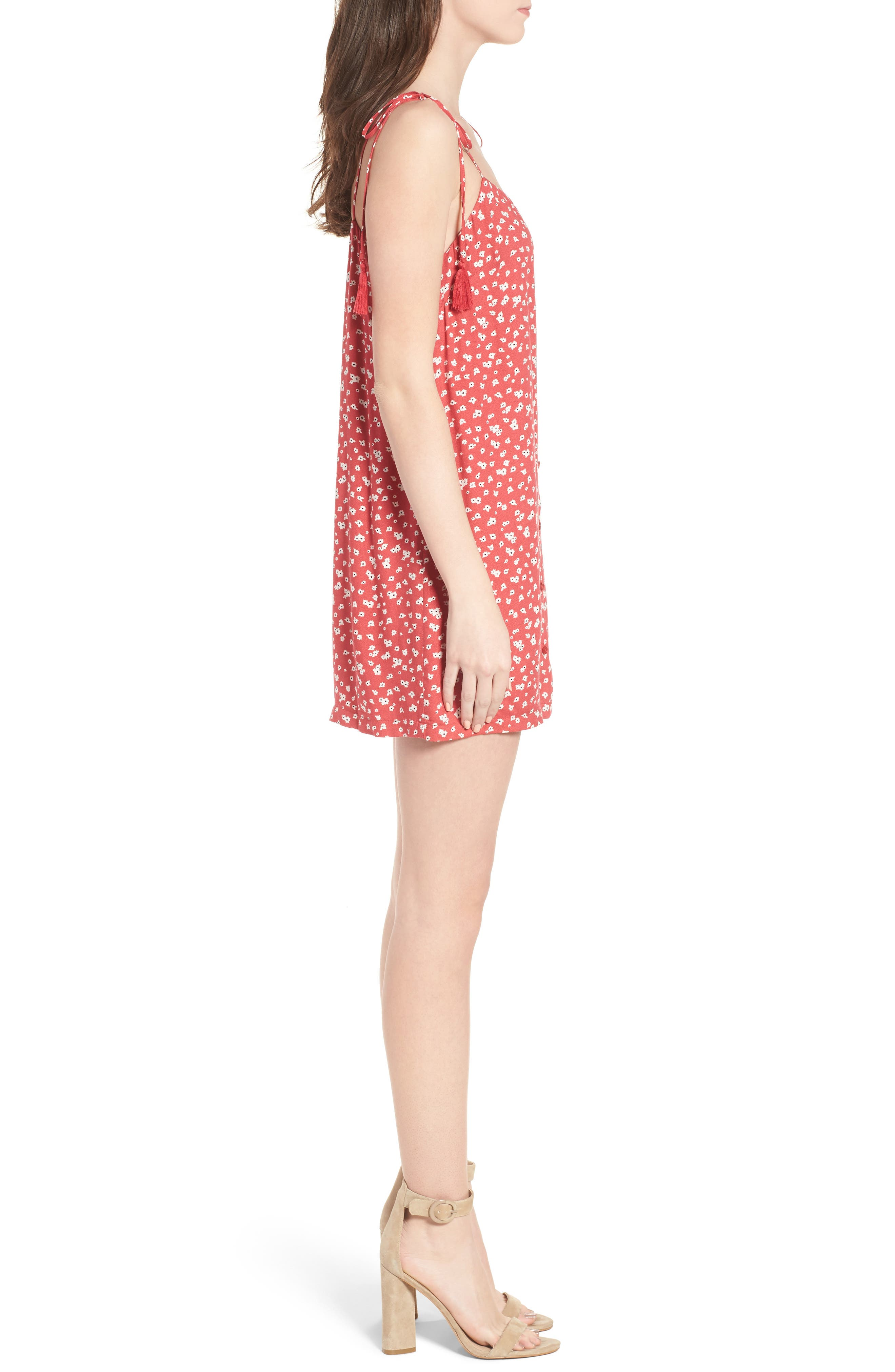 Button Down Minidress,                             Alternate thumbnail 3, color,                             Red-Ivory