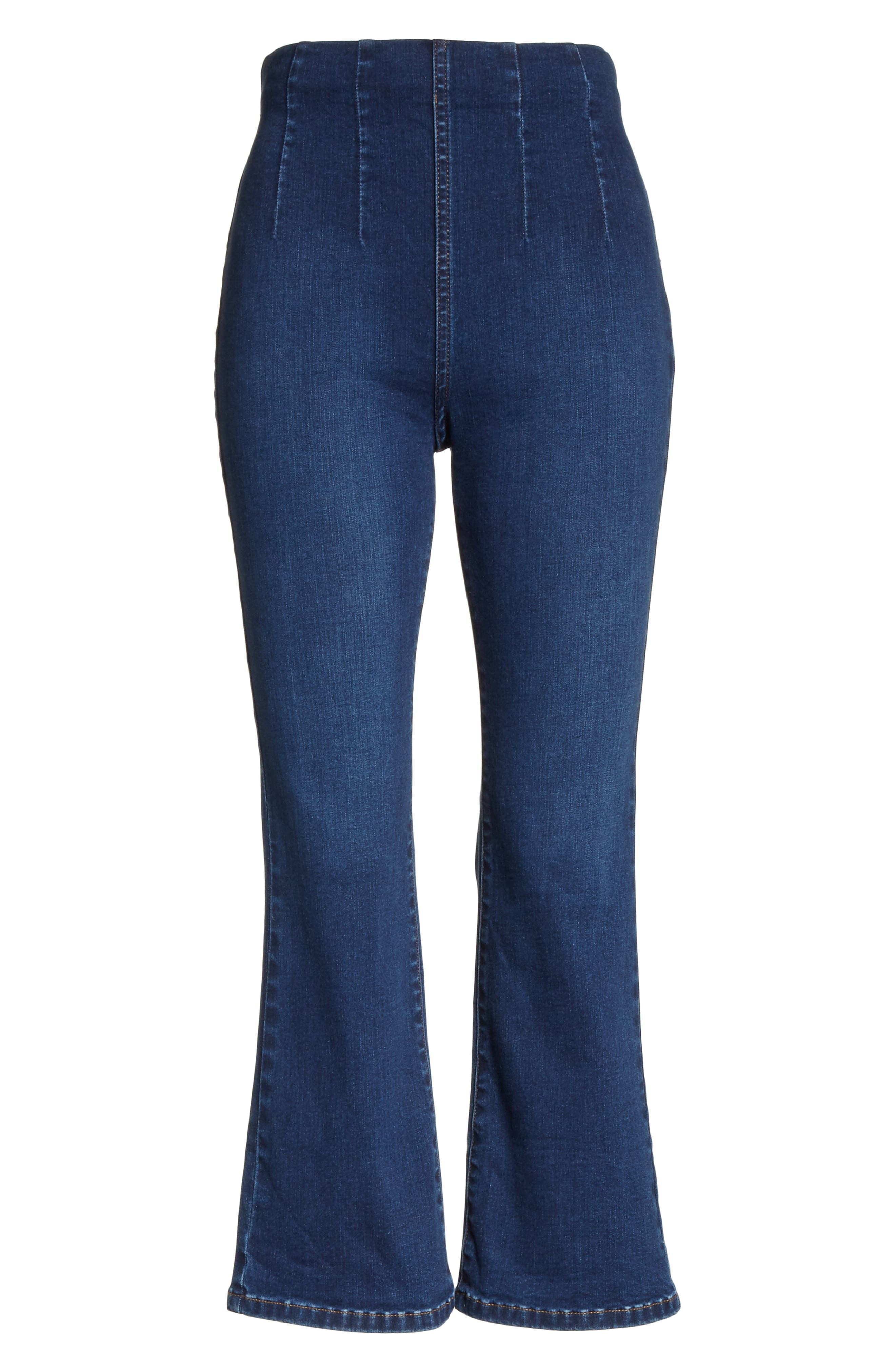 Pull-On Ultra High Waist Crop Bootcut Jeans,                             Alternate thumbnail 8, color,                             Blue