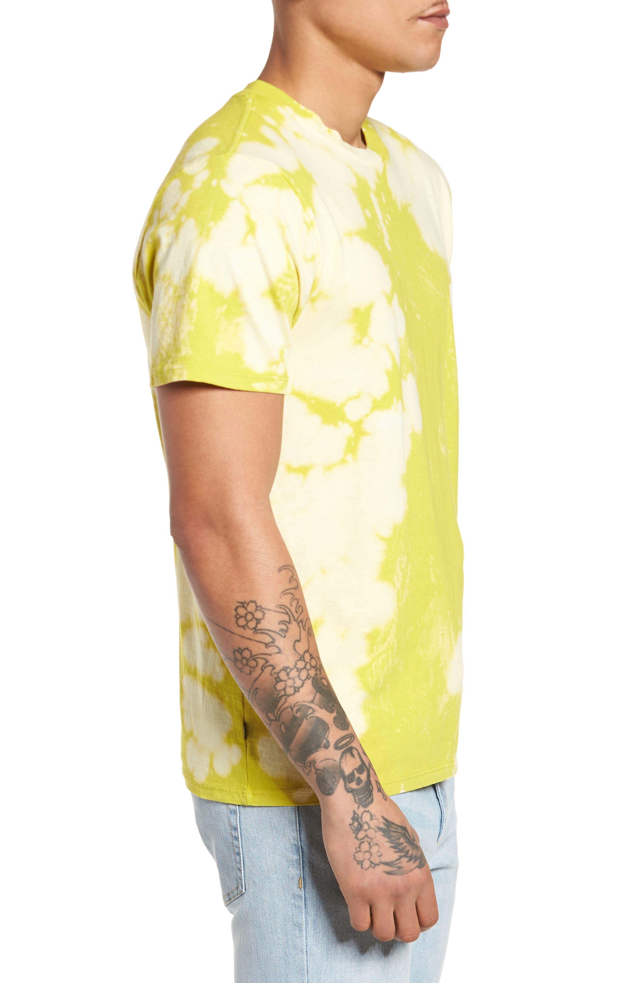 Jumble Lo-Fi Bleach Tie Dye T-Shirt,                             Alternate thumbnail 3, color,                             Safety Green