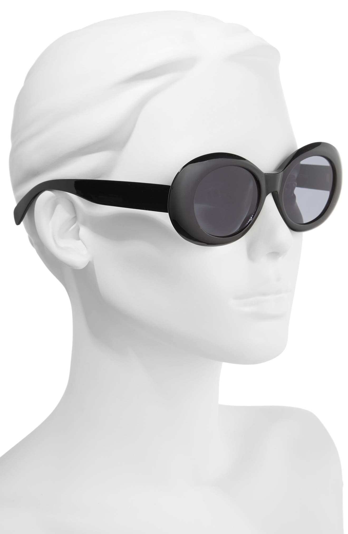 Oval Sunglasses,                             Alternate thumbnail 2, color,                             Black