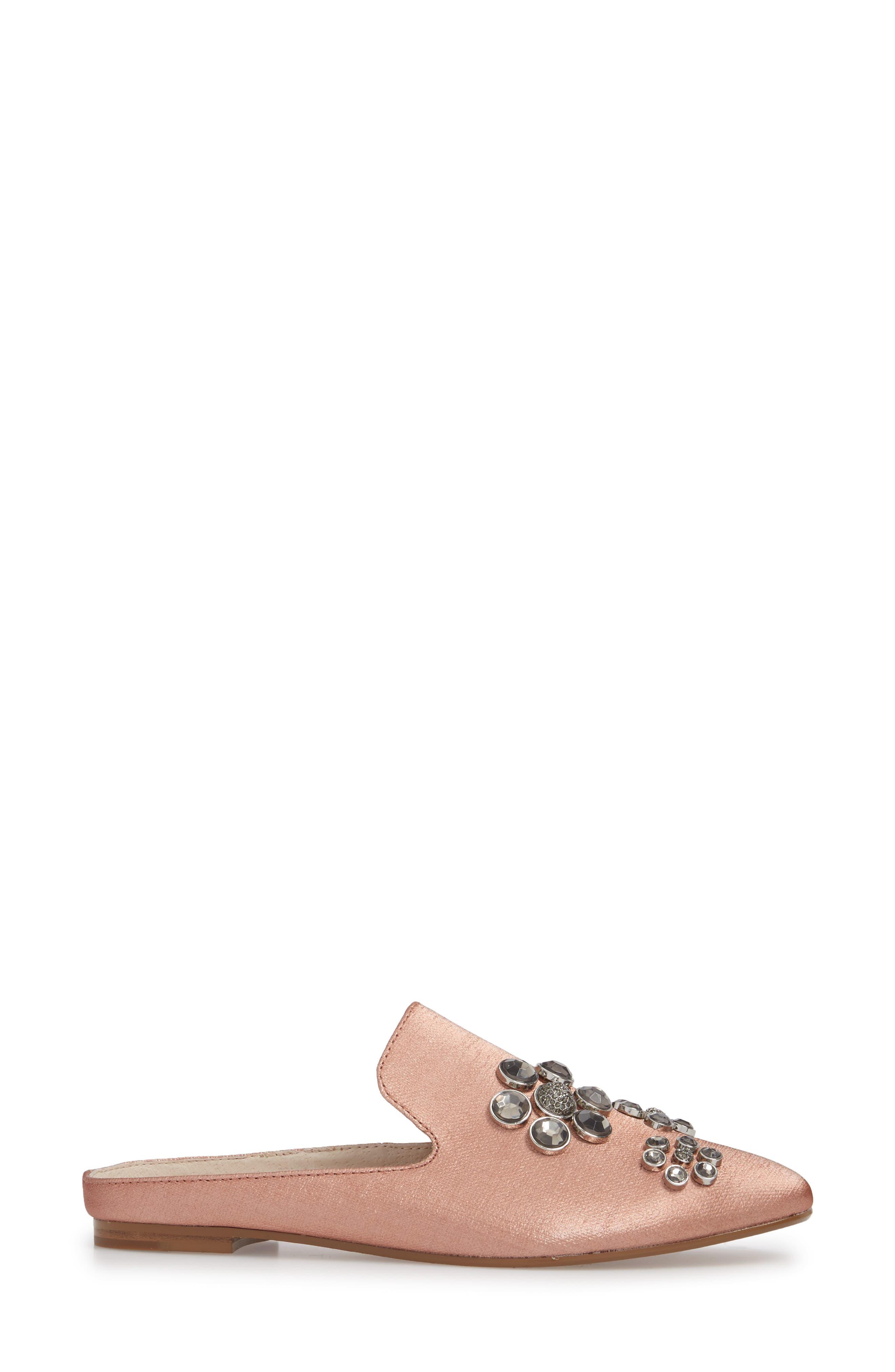 Felix II Crystal Flower Loafer Mule,                             Alternate thumbnail 3, color,                             Antique Rosetta Linen Fabric