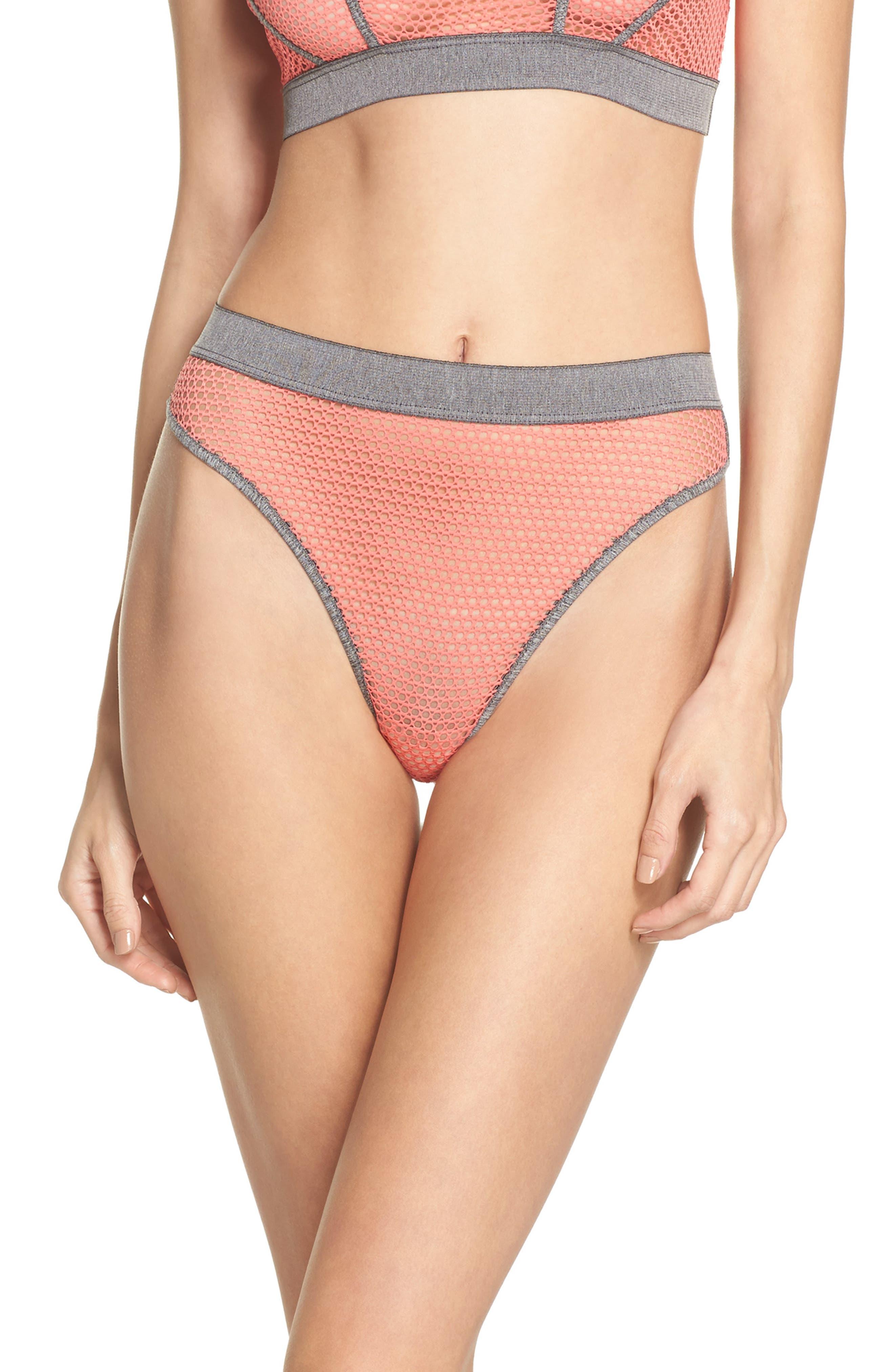 Myah High Leg Bikini,                         Main,                         color, Moroccan Rose/ Heath Gray