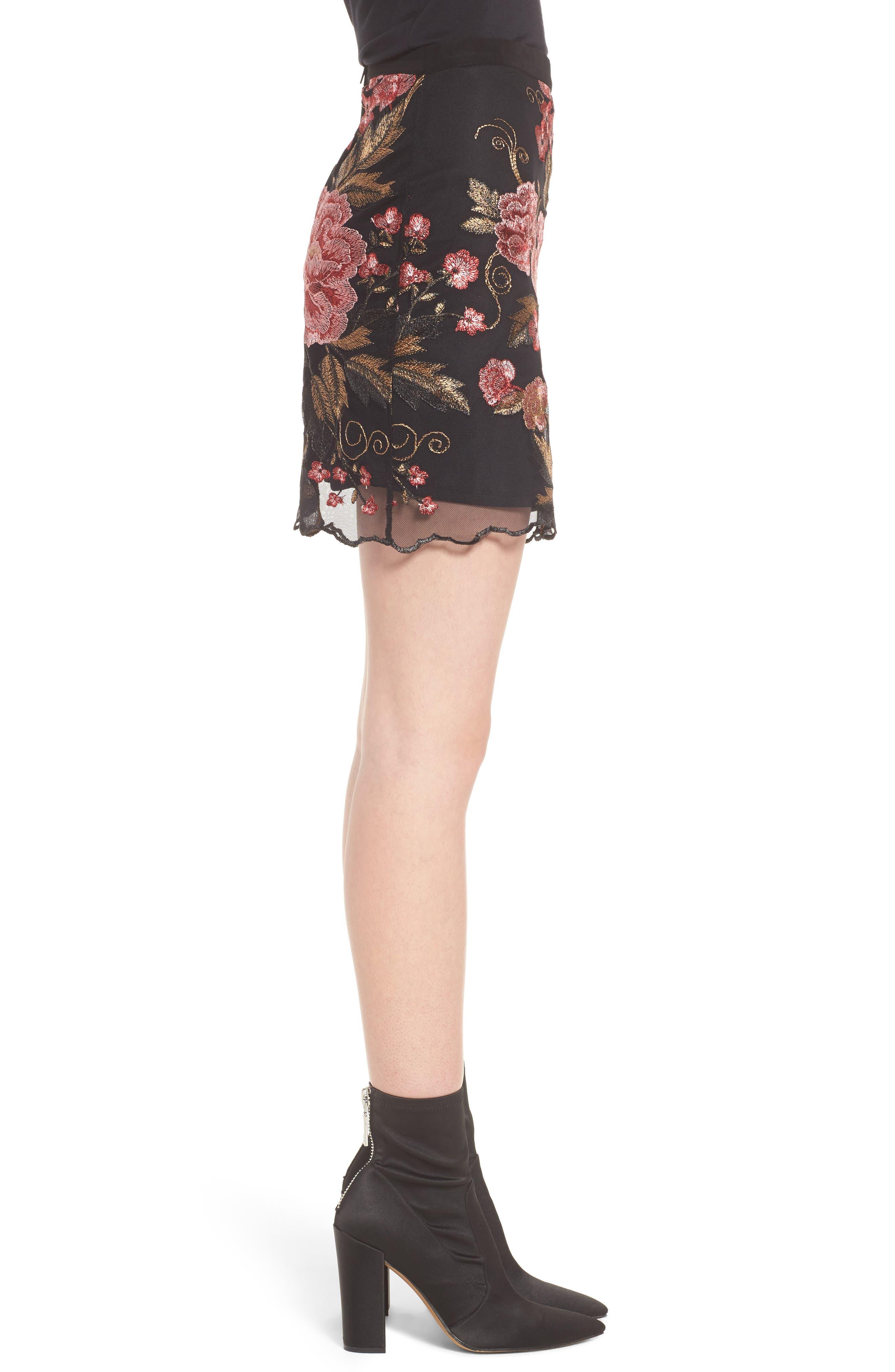 Sunset Embroidered Skirt,                             Alternate thumbnail 4, color,                             Black/ Rose
