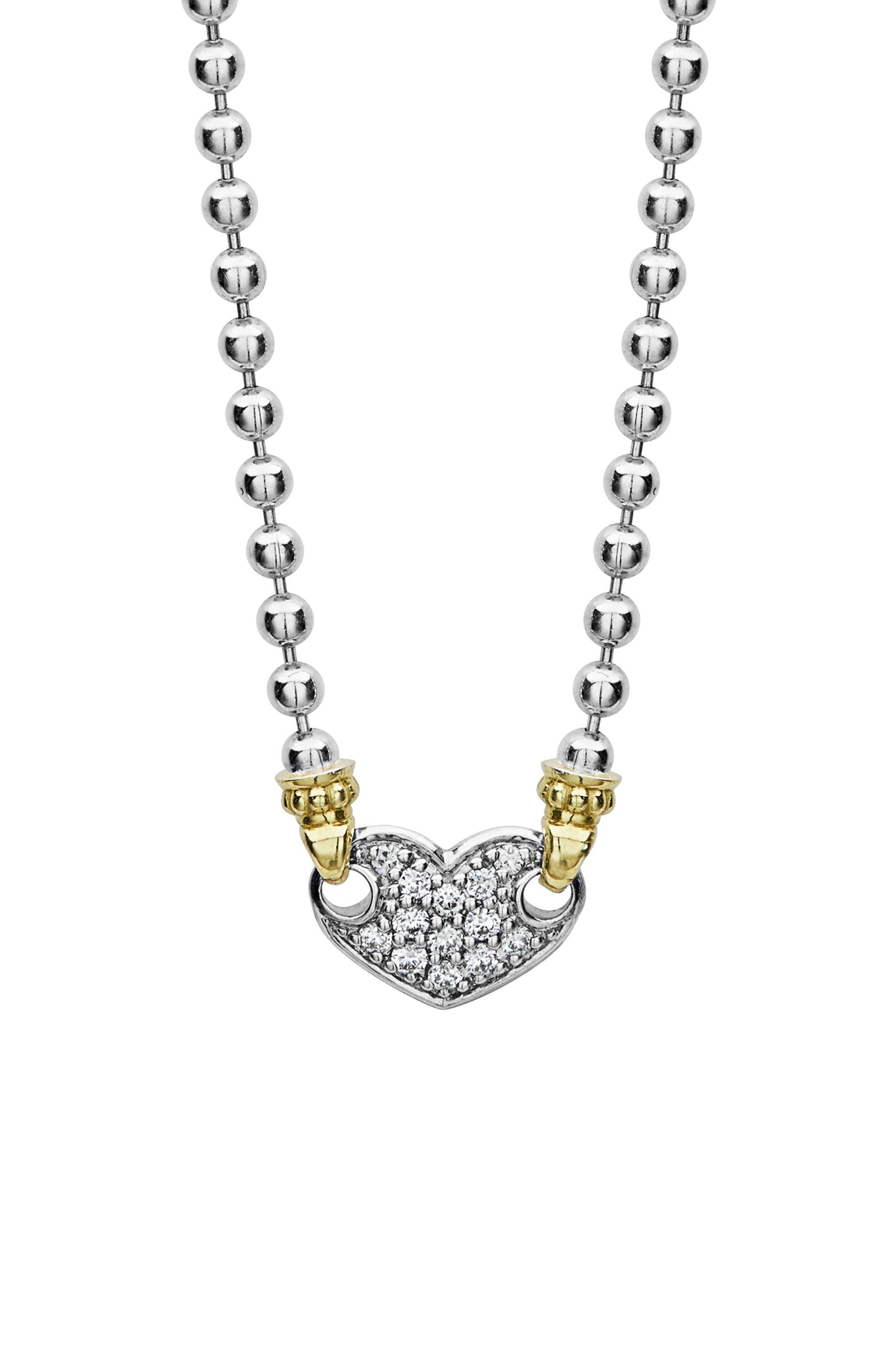 Beloved Diamond Pavé Heart Chain Necklace,                             Alternate thumbnail 2, color,                             Silver/ Diamond