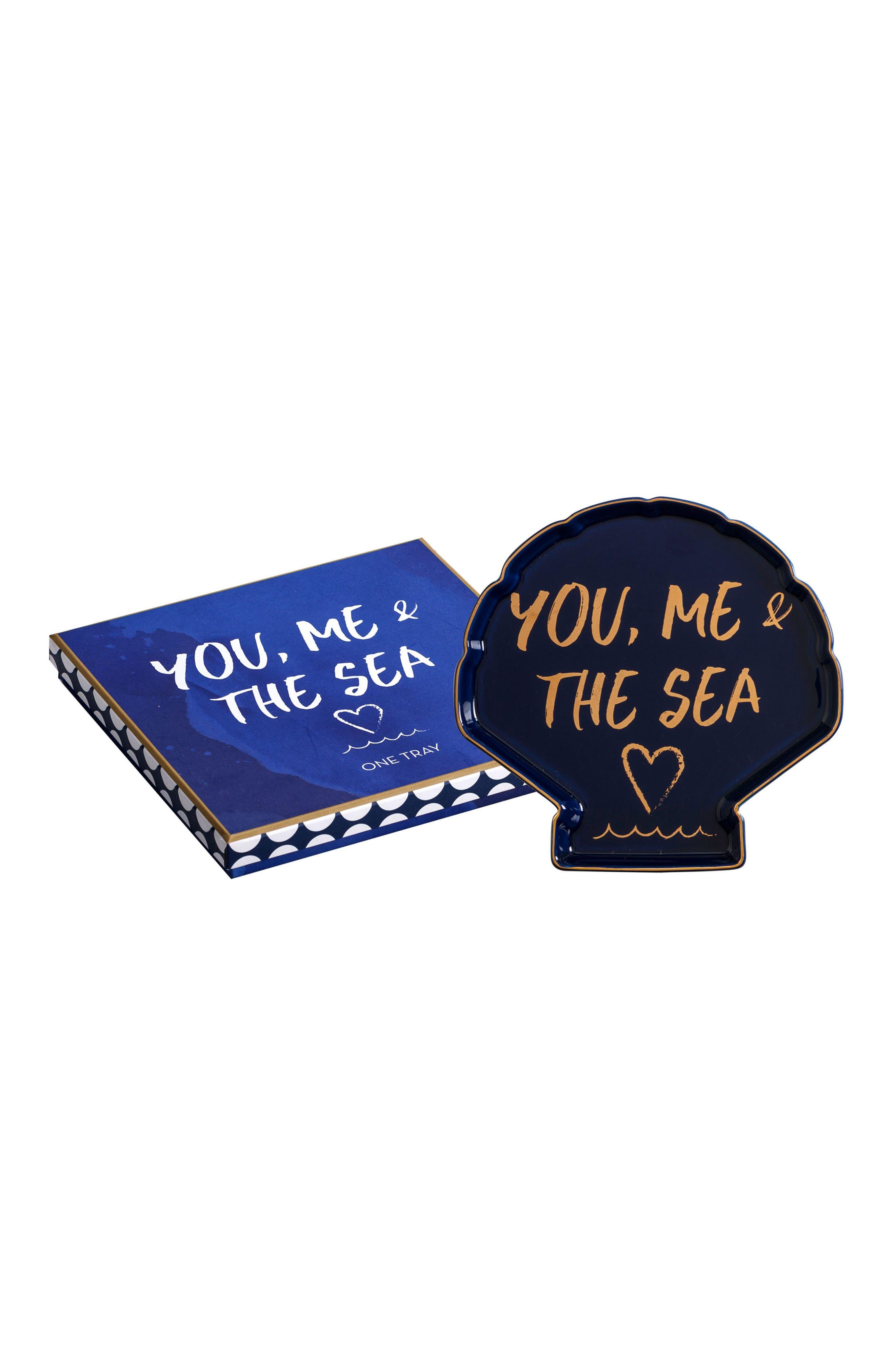 You, Me & The Sea Tray,                             Main thumbnail 1, color,                             Blue/Gold