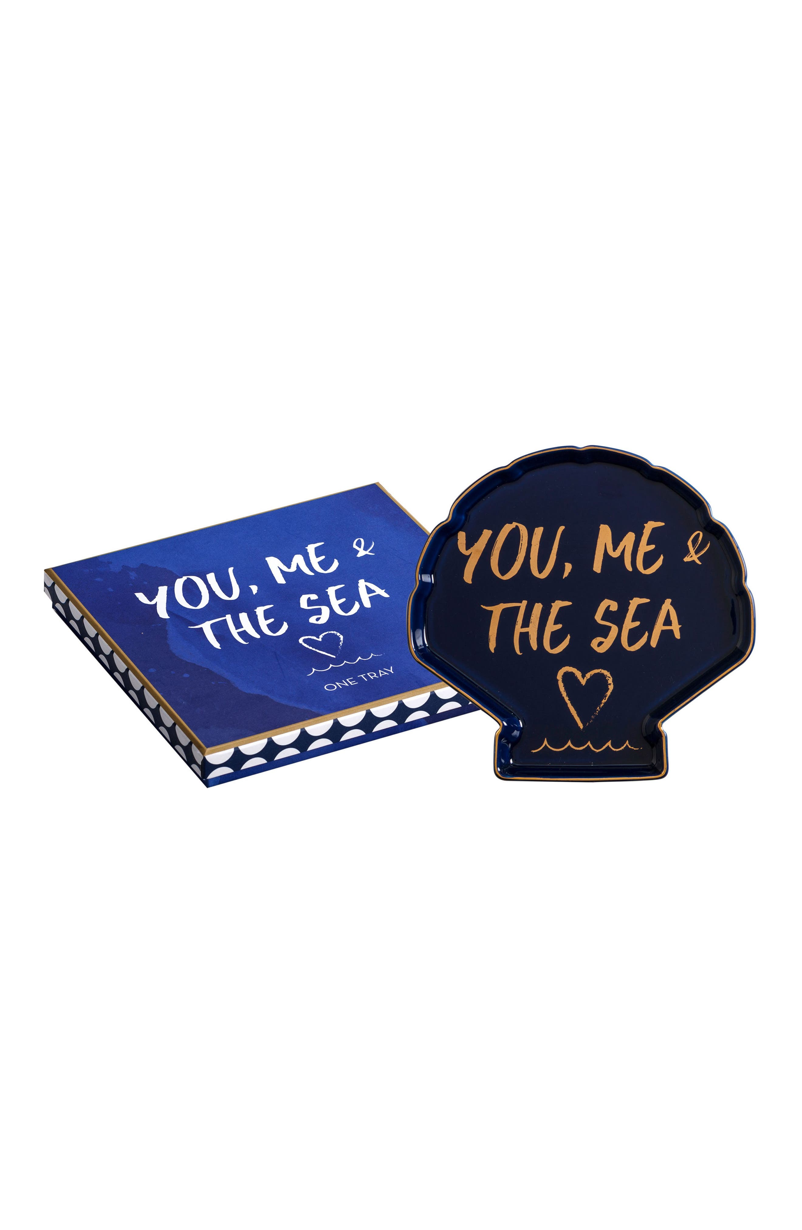 You, Me & The Sea Tray,                         Main,                         color, Blue/Gold