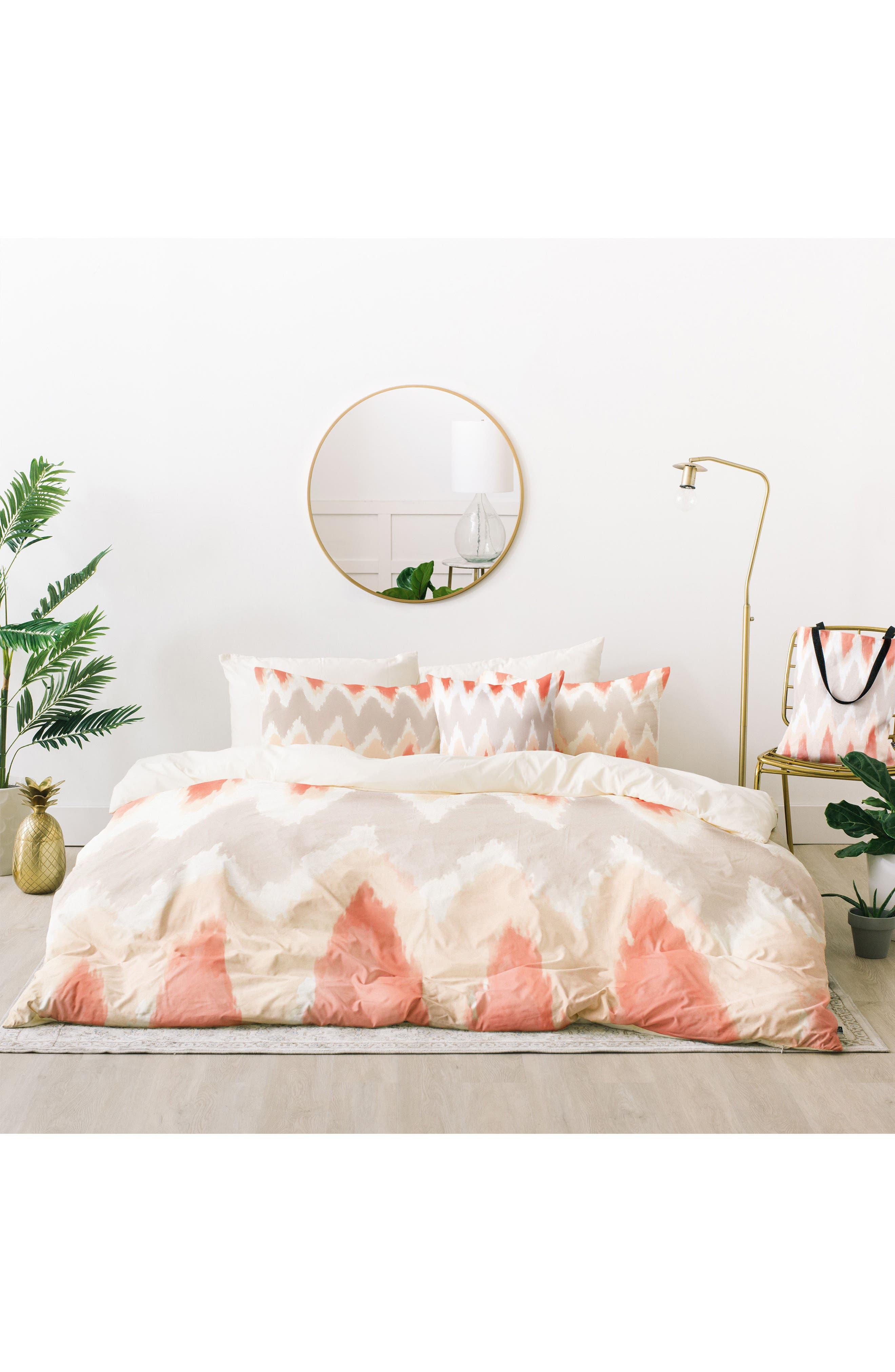 Zoe Wodarz Zigzagzig Bed in a Bag Duvet Cover, Sham & Accent Pillow Set,                             Main thumbnail 1, color,                             Peach Multi