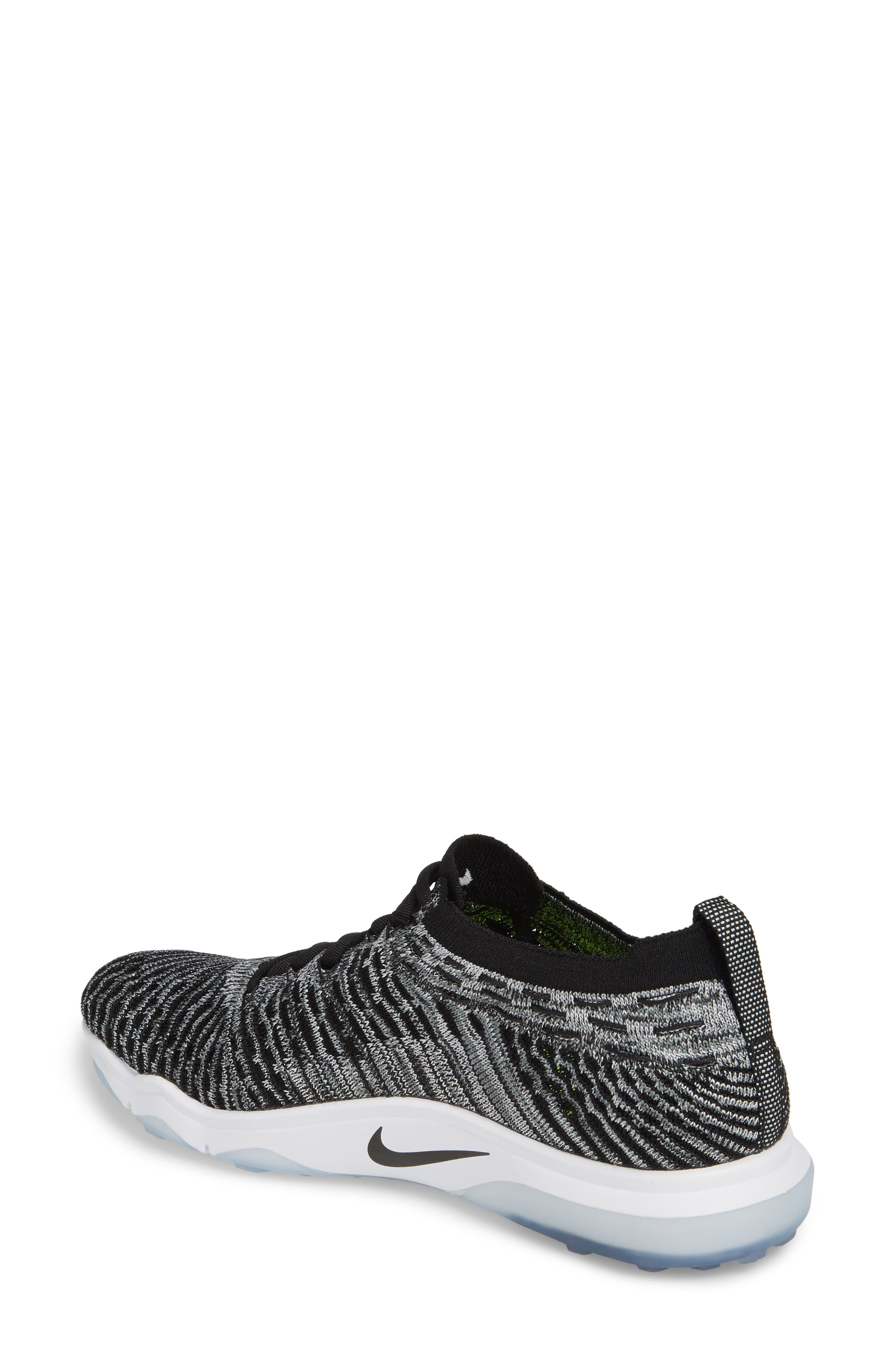 Air Zoom Fearless Flyknit Lux Training Shoe,                             Alternate thumbnail 2, color,                             Black/ White