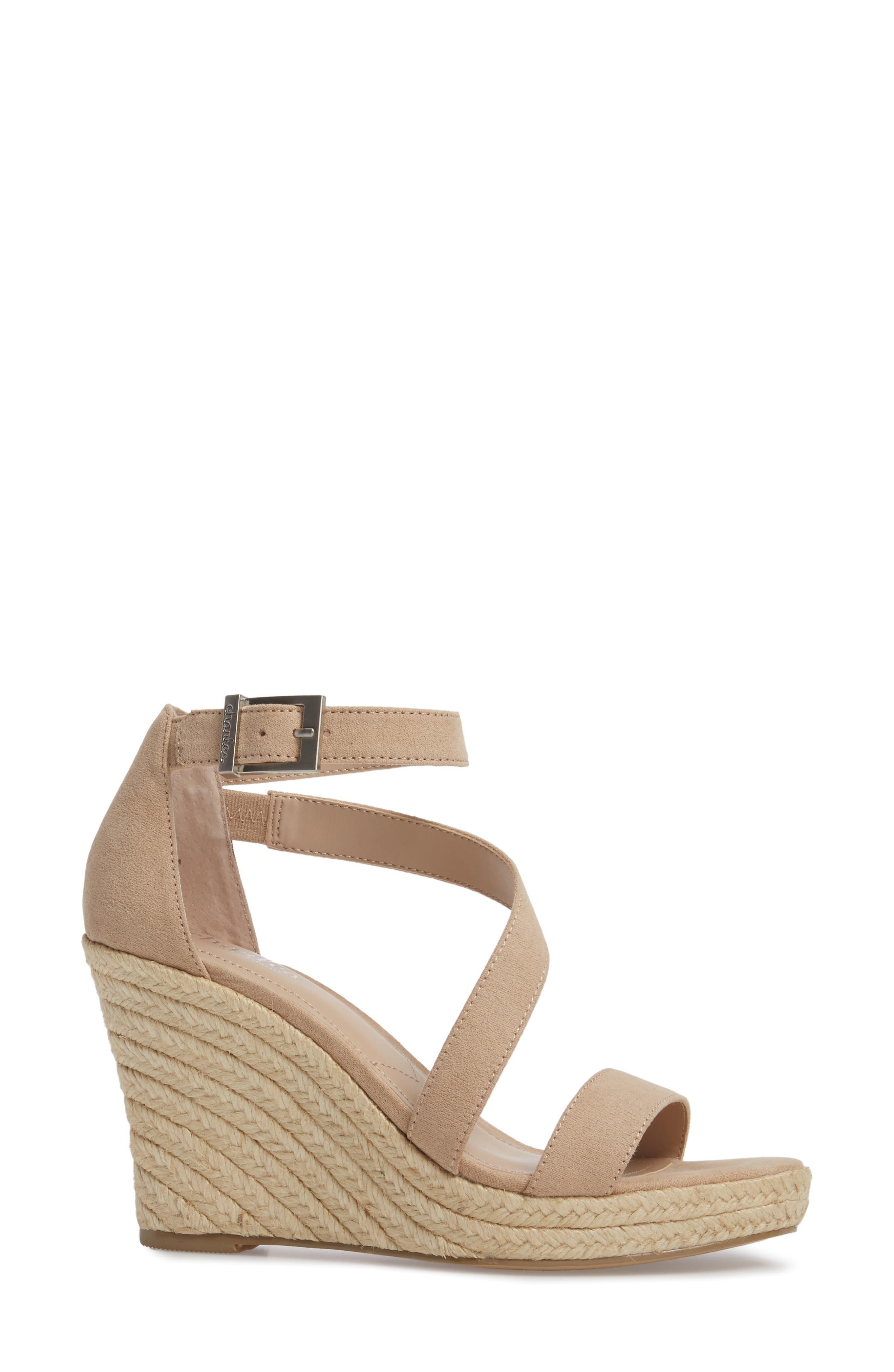 Lou Asymmetrical Wedge Sandal,                             Alternate thumbnail 3, color,                             Nude Suede