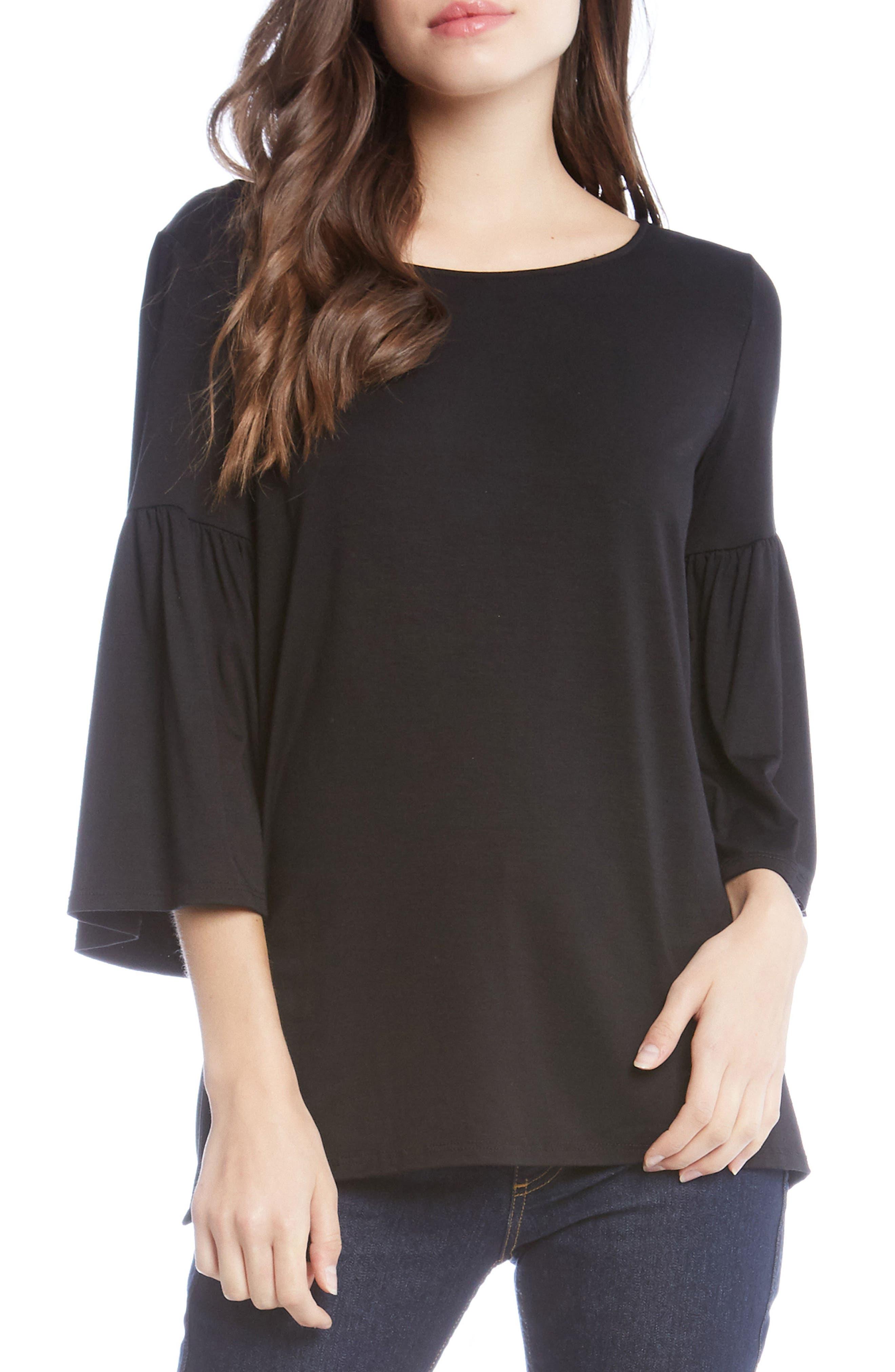 Bell Sleeve Side Slit Top,                         Main,                         color, Black