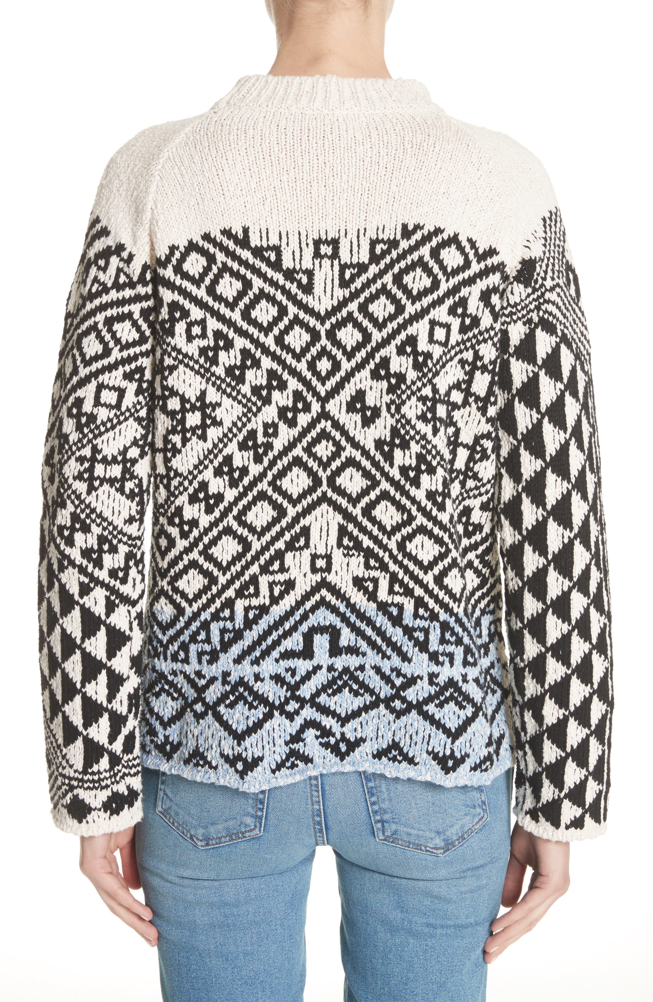 Rhia Jacquard Sweater,                             Alternate thumbnail 2, color,                             Off White/ Black