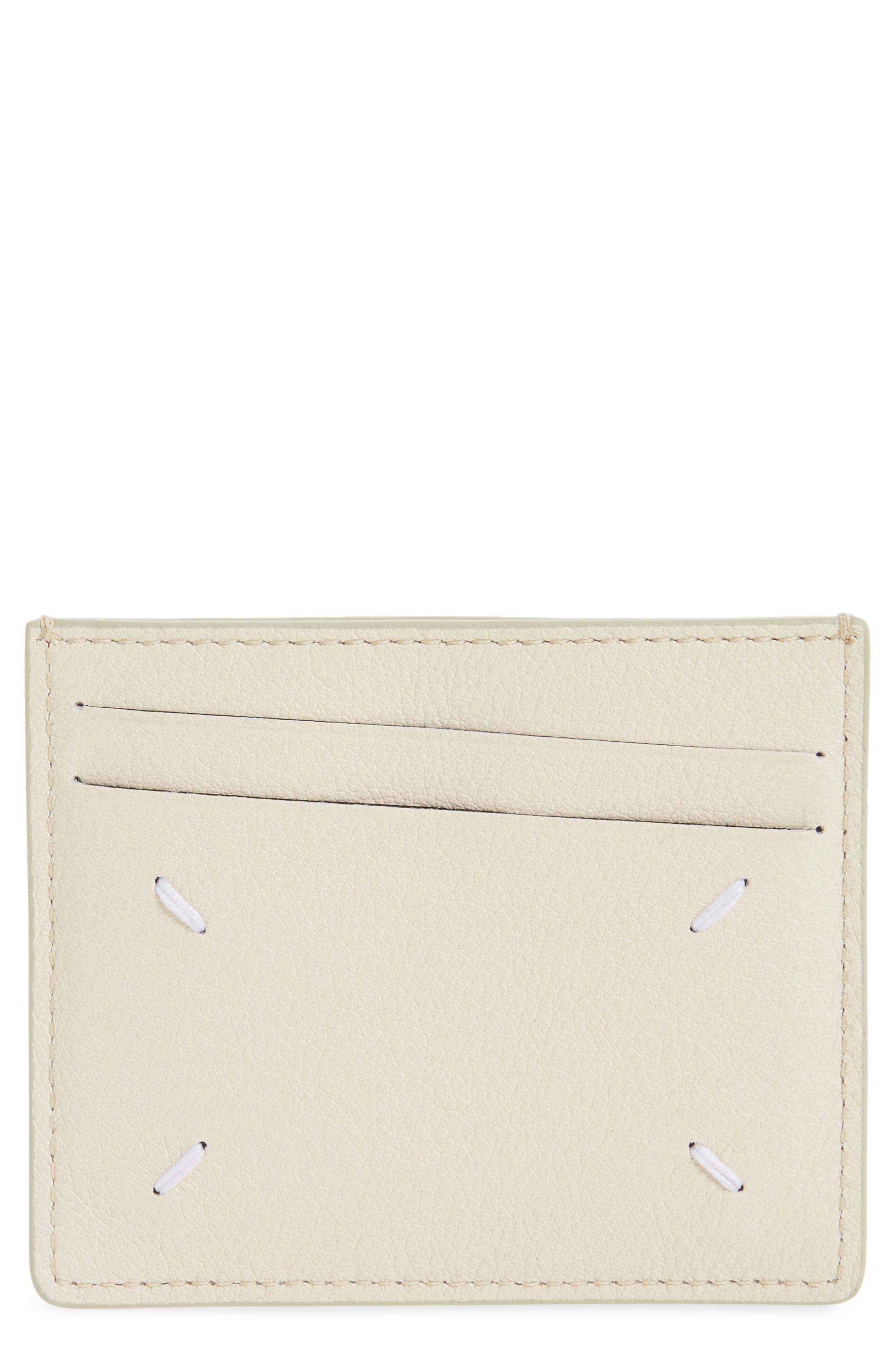 Leather Card Case,                         Main,                         color, White