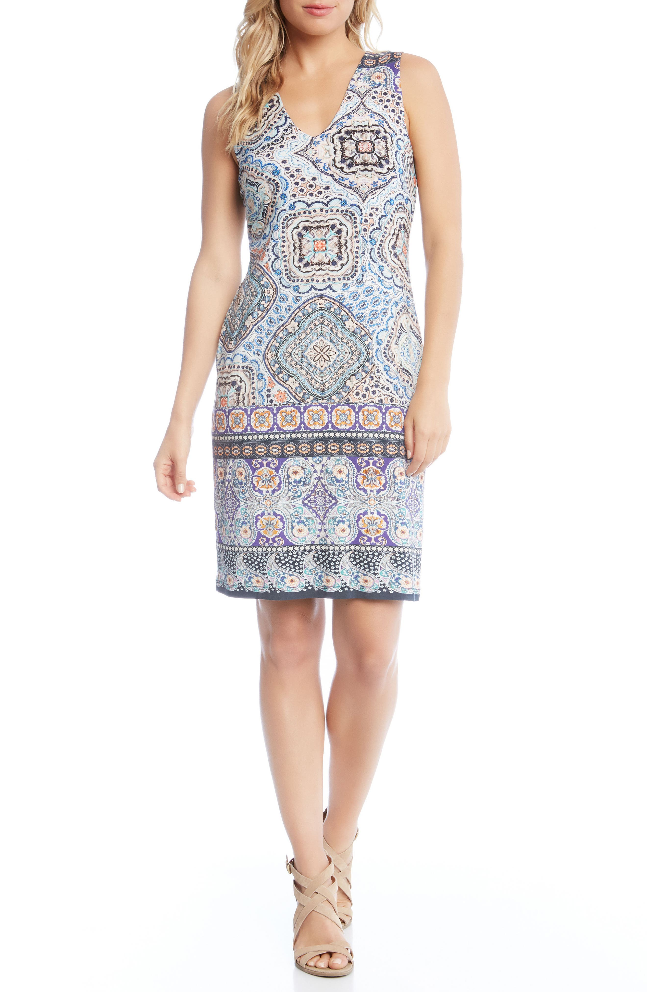 Tuscan Tile Sheath Dress,                             Main thumbnail 1, color,                             Print