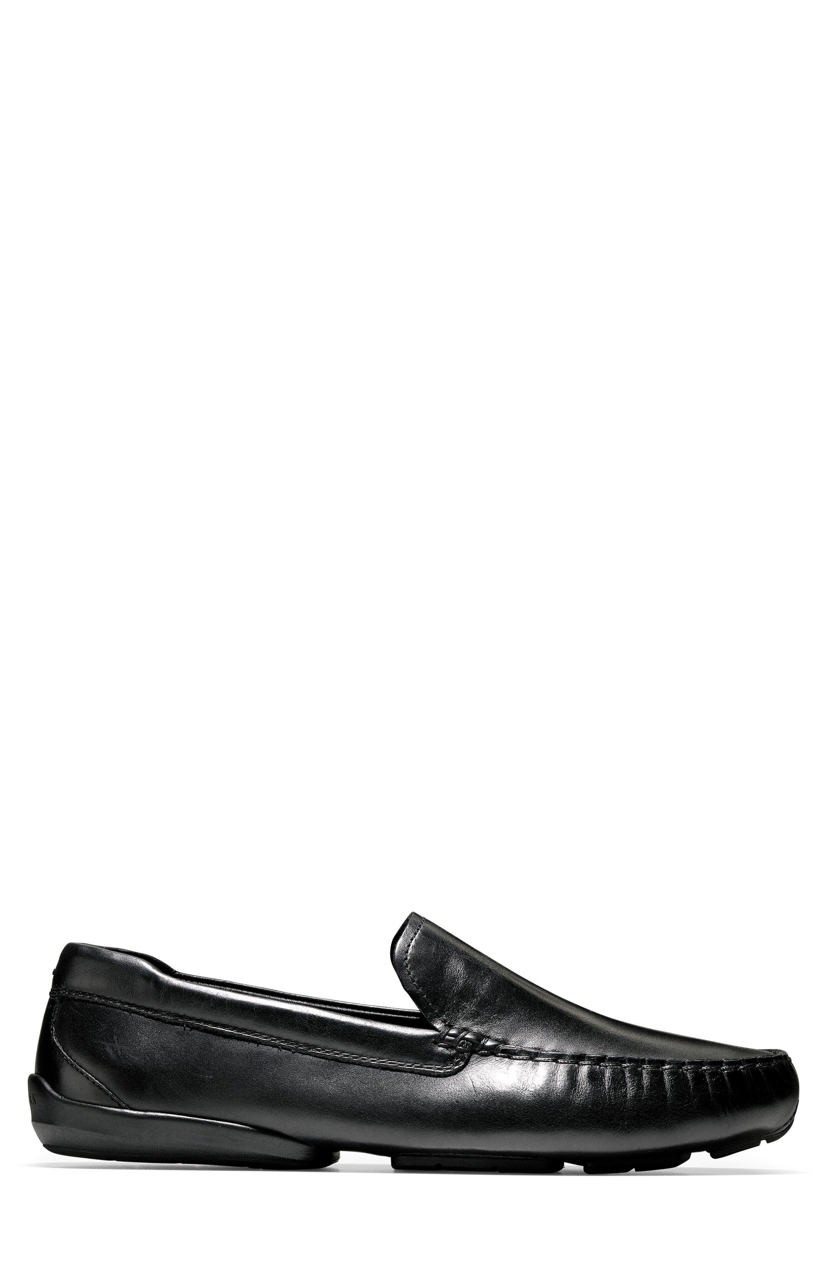 Branson Driving Shoe,                             Alternate thumbnail 3, color,                             Black Leather