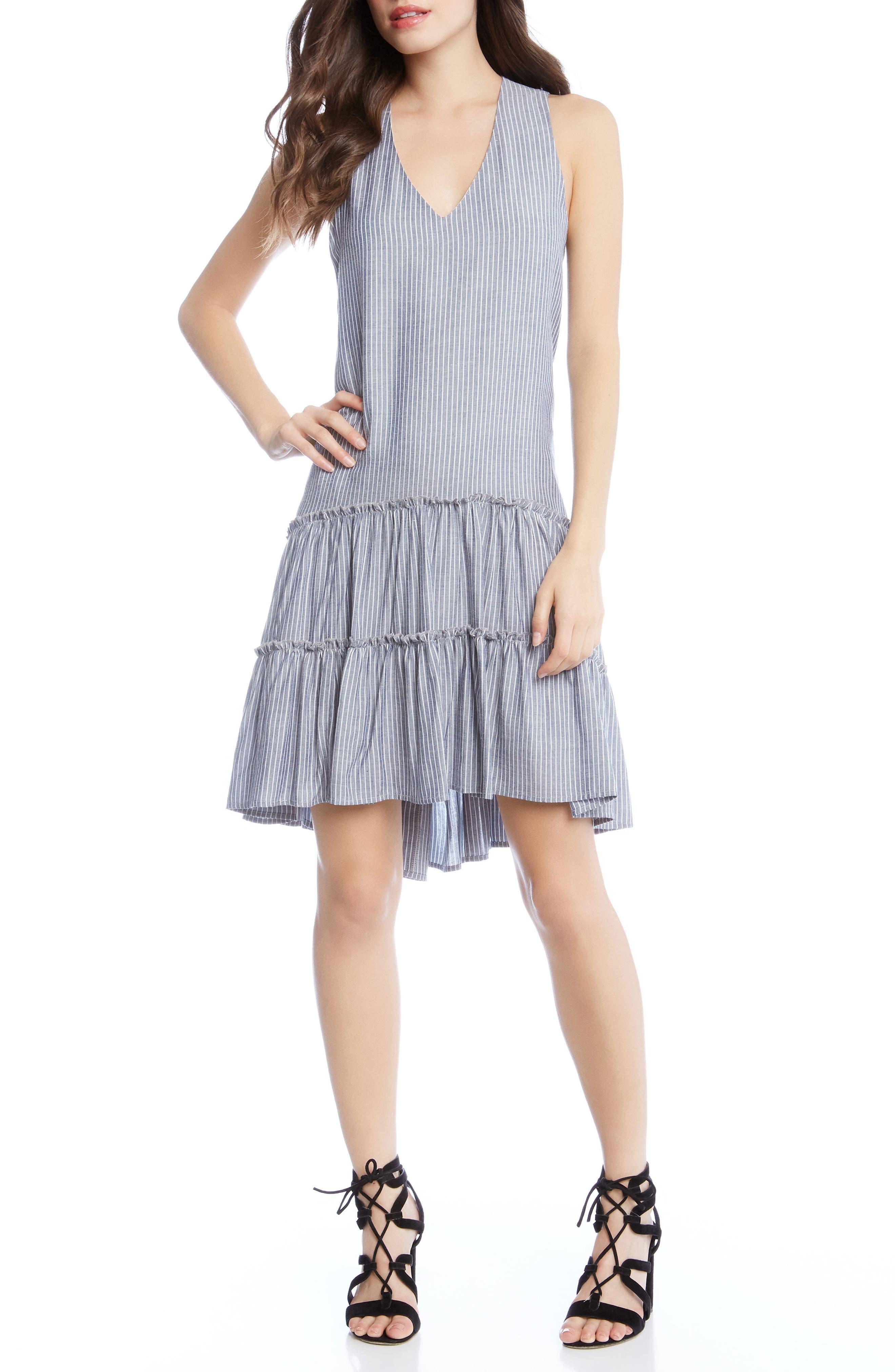 Ruffle Hem Dress,                             Main thumbnail 1, color,                             Stripe