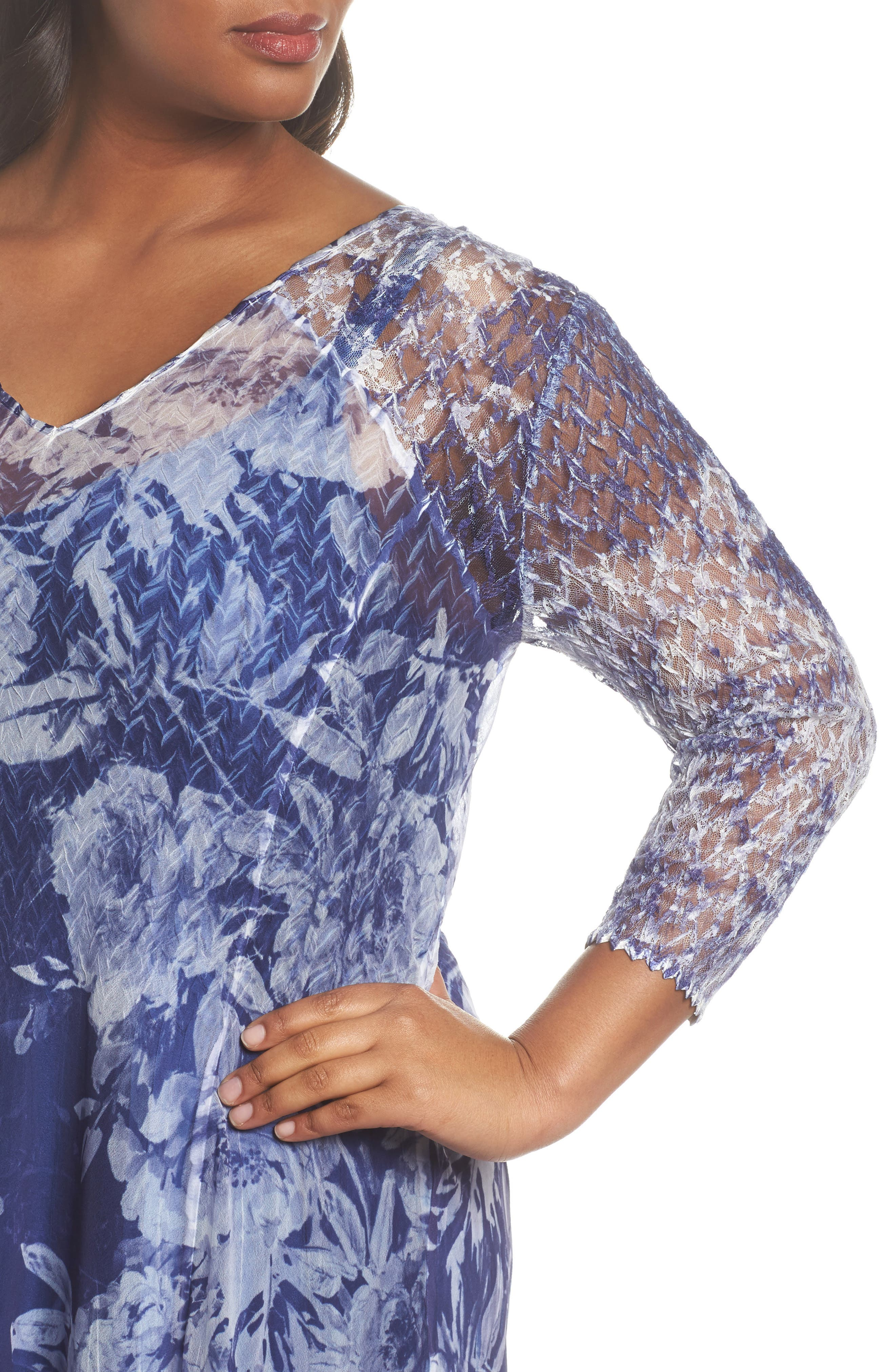 Print Chiffon Tiered Maxi Dress,                             Alternate thumbnail 4, color,                             Indigo Fields