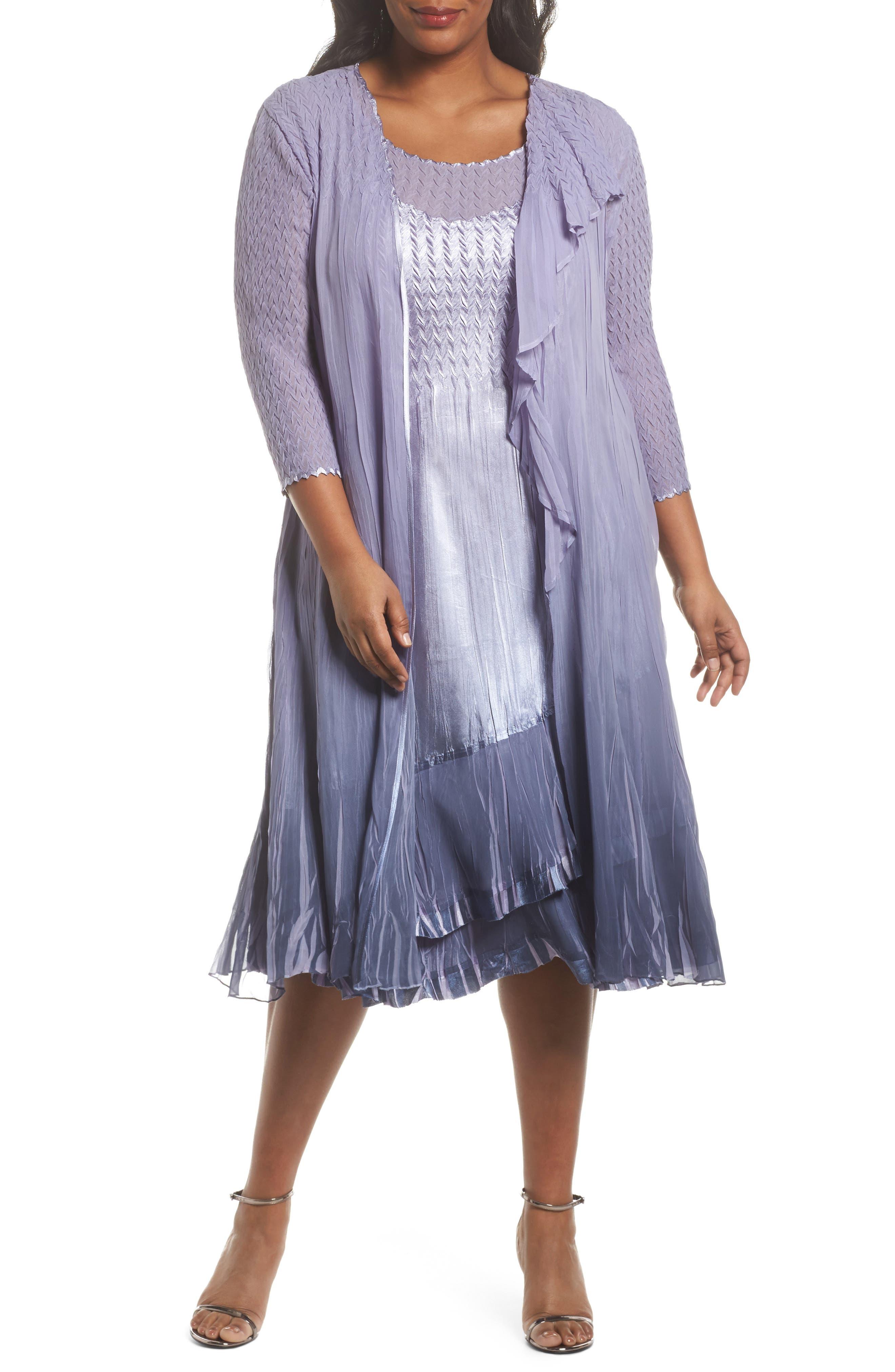 Main Image - Komarov Charmeuse Dress & Waterfall Jacket Set (Plus Size)