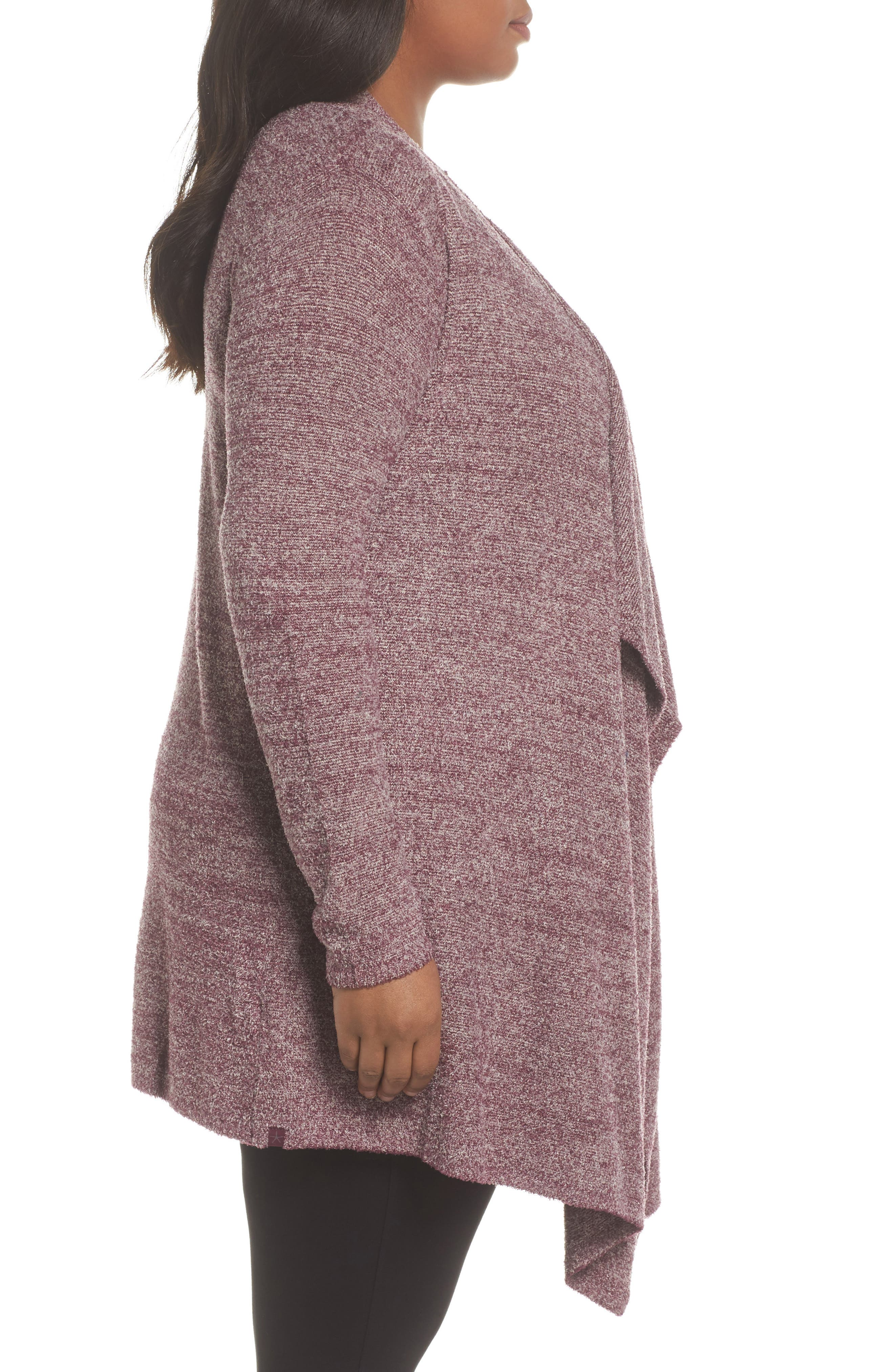 CozyChic Lite<sup>®</sup> Calypso Wrap Cardigan,                             Alternate thumbnail 3, color,                             Burgundy/ Stone
