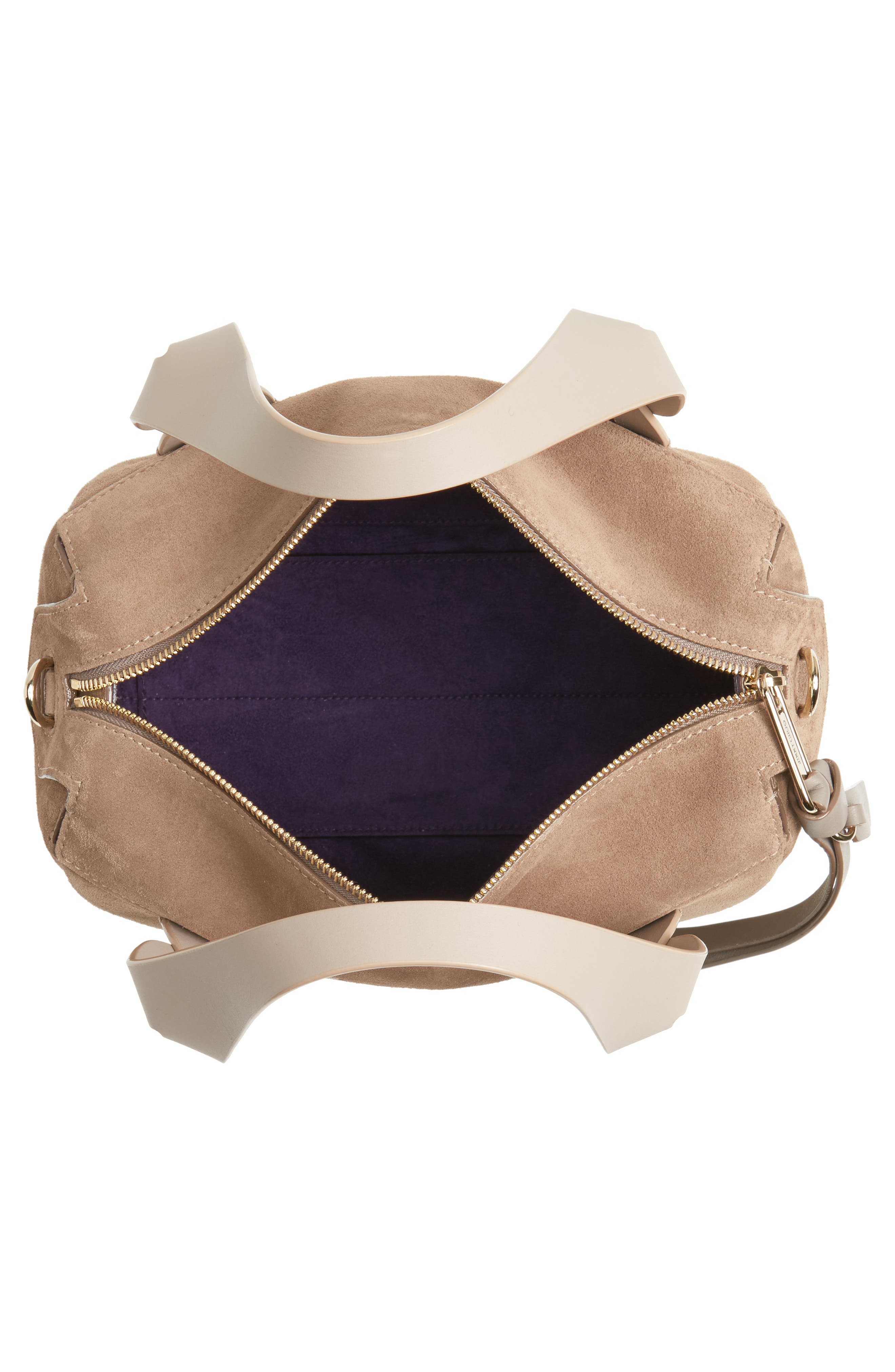 Small Allie Nappa Leather Bowling Bag,                             Alternate thumbnail 4, color,                             Light Mocha