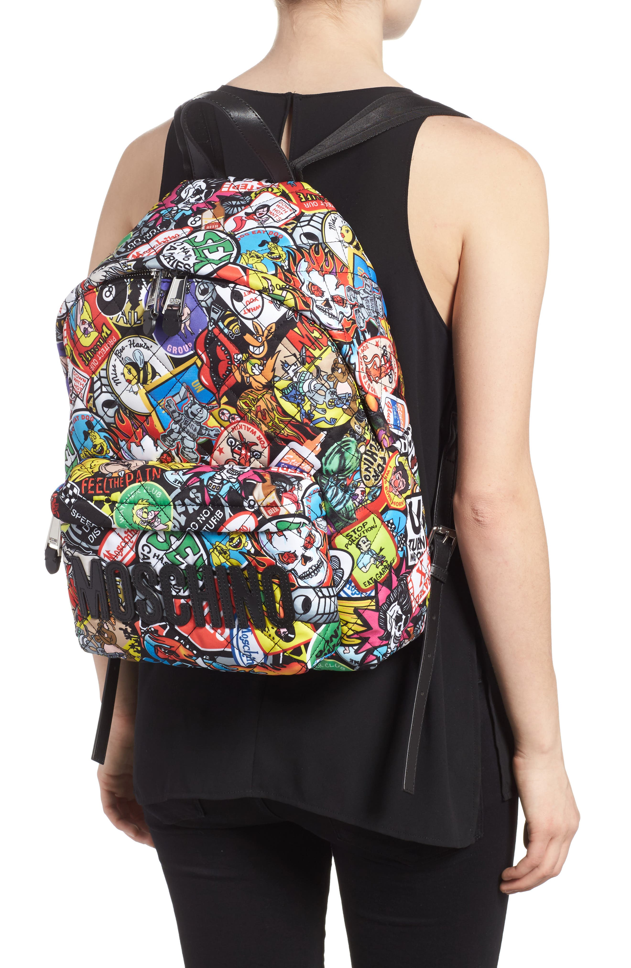 Alternate Image 2  - Moschino Patch Print Quilted Nylon Backpack