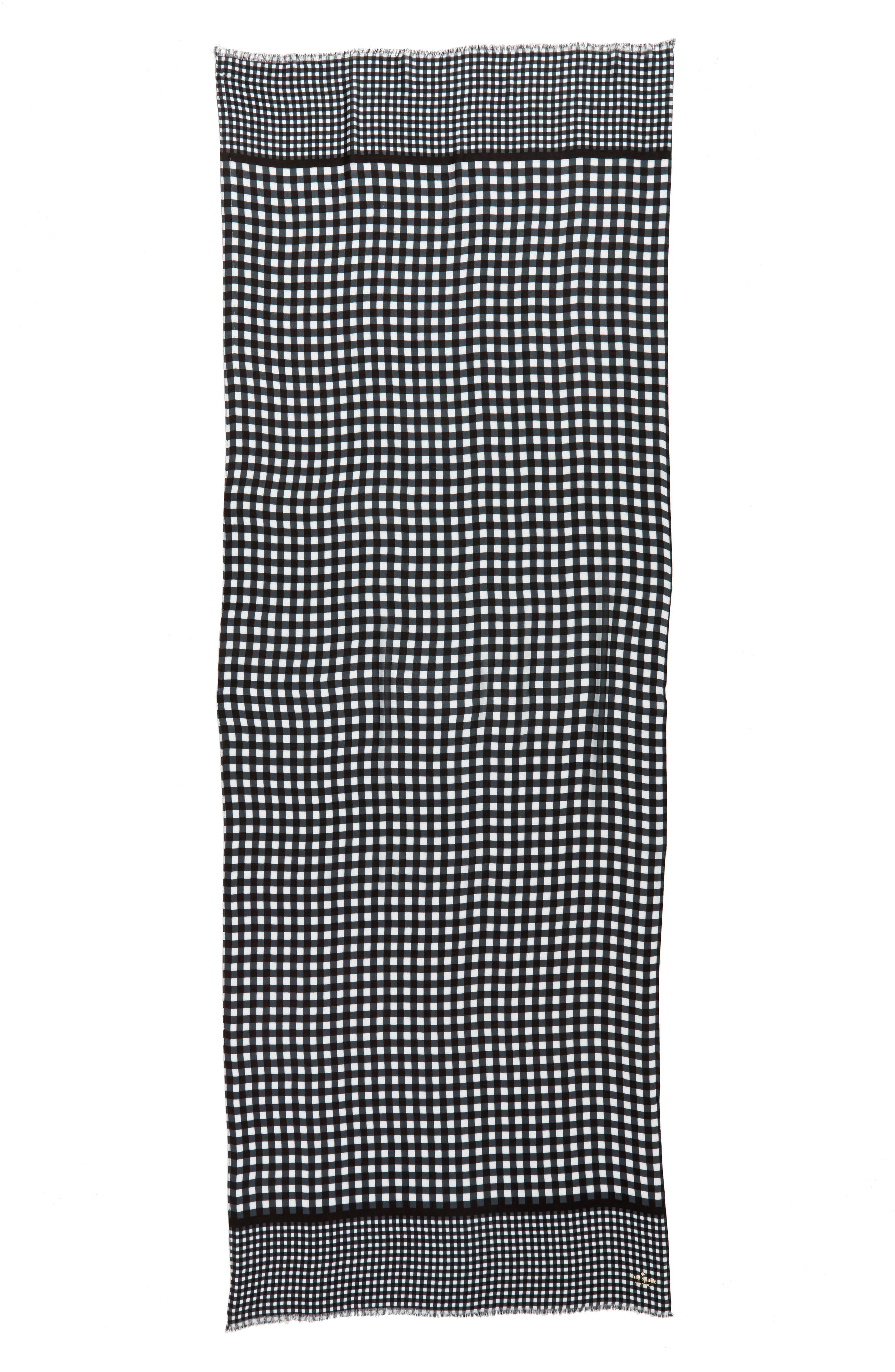 gingham scarf,                             Alternate thumbnail 3, color,                             Black