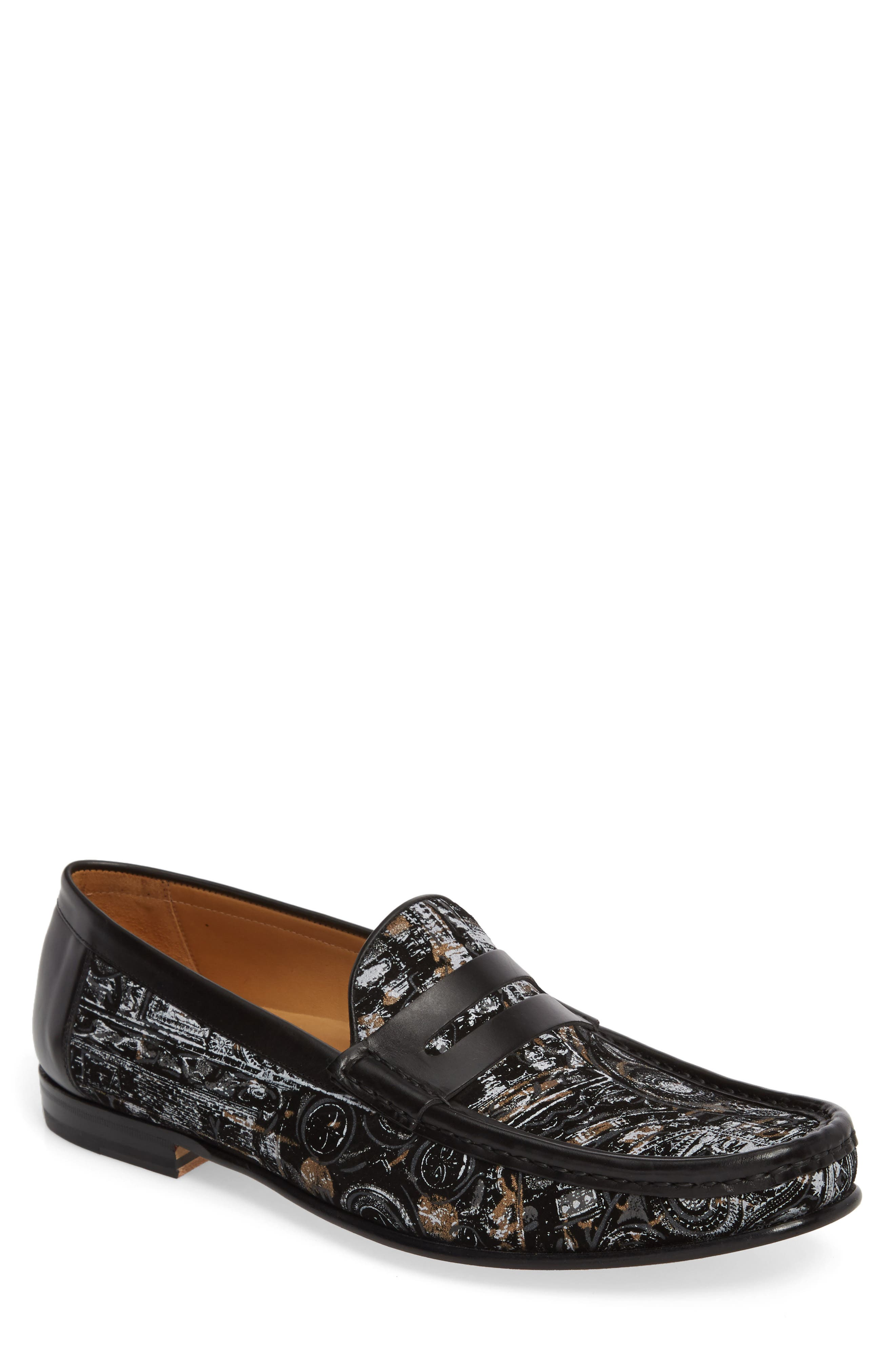 Laries II Penny Loafer,                             Main thumbnail 1, color,                             Black Suede/ Leather