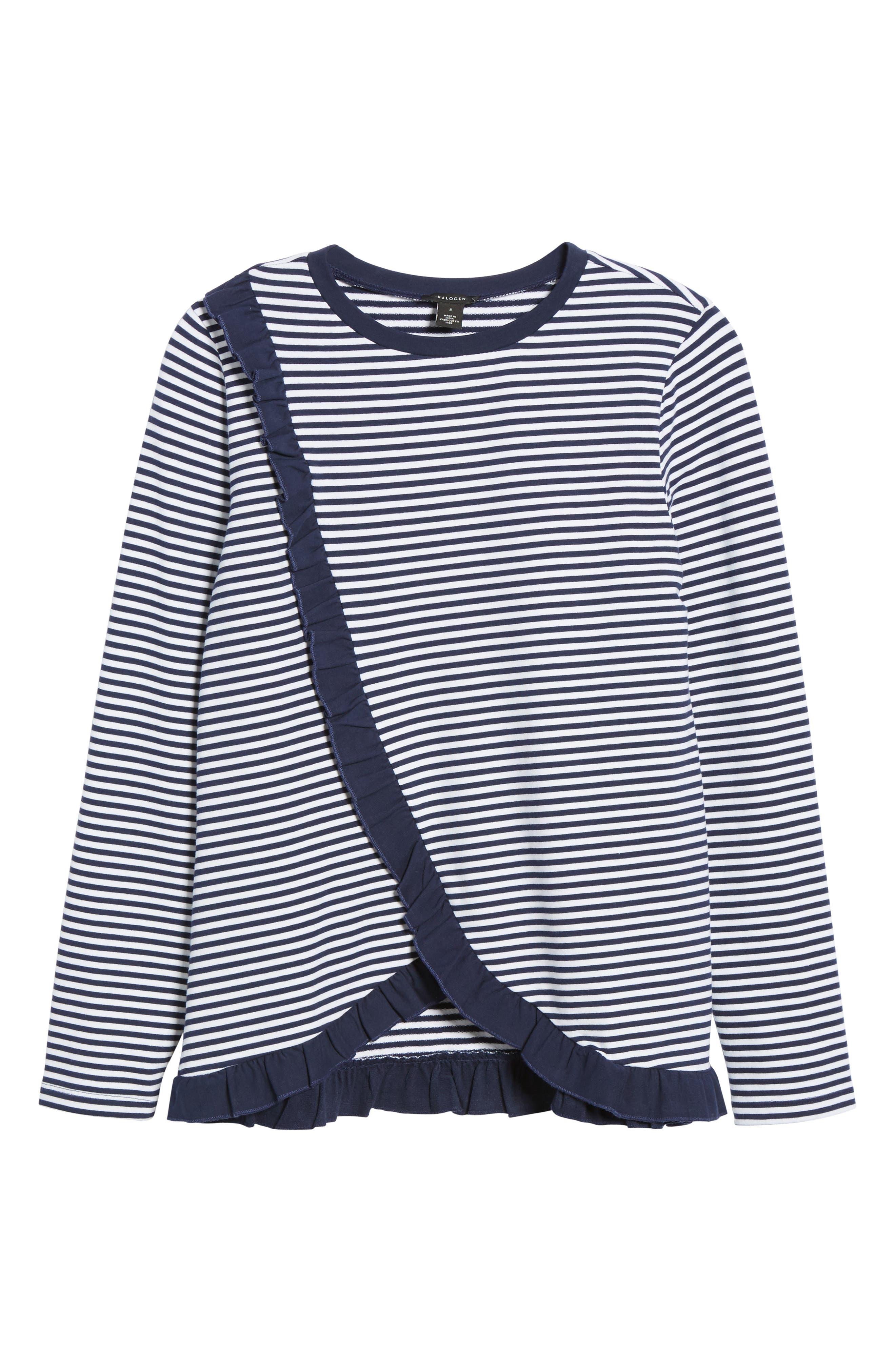 Ruffle Wrap Top,                         Main,                         color, Navy- White Stripe