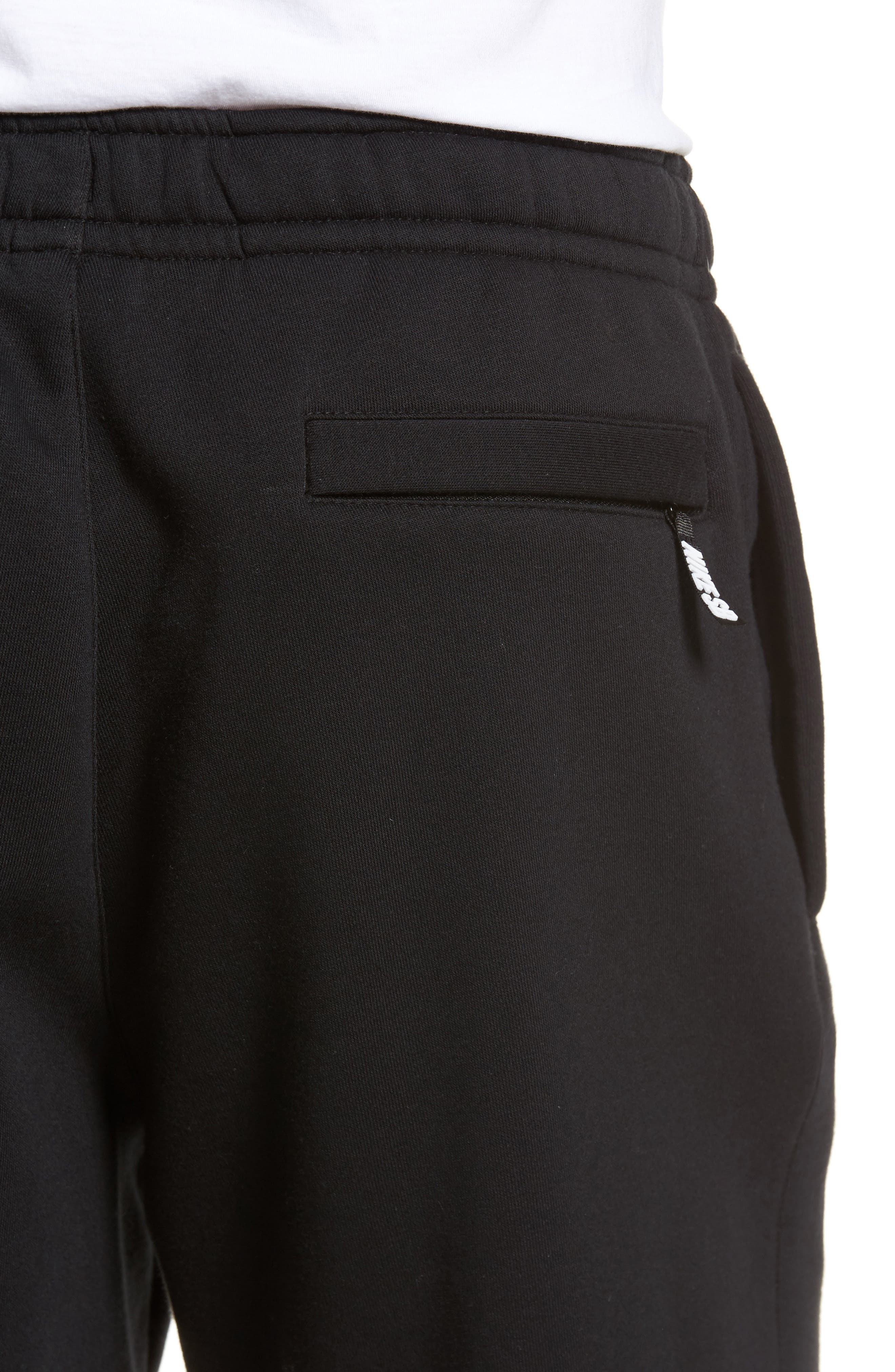 Fleece Shorts,                             Alternate thumbnail 4, color,                             Black/ White